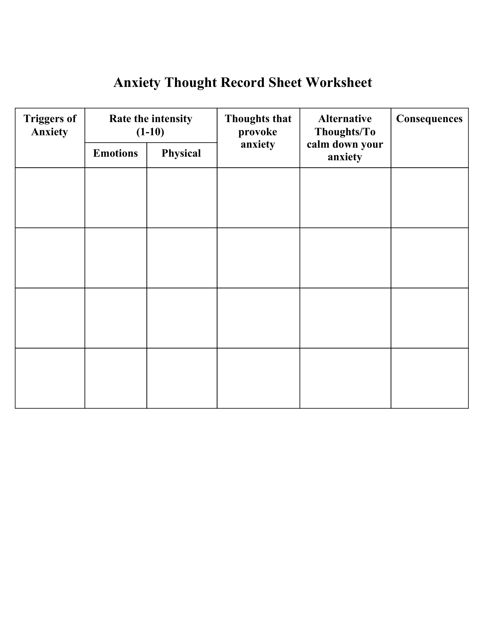 Anxiety Thought Record Sheet Worksheet - Mental Health ...