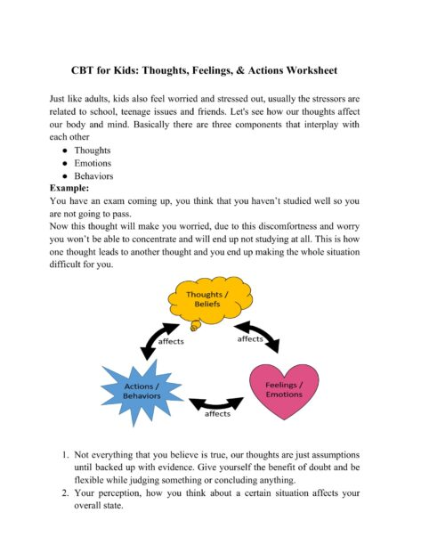 CBT For Kids: Thoughts, Feelings, & Actions Worksheet ...