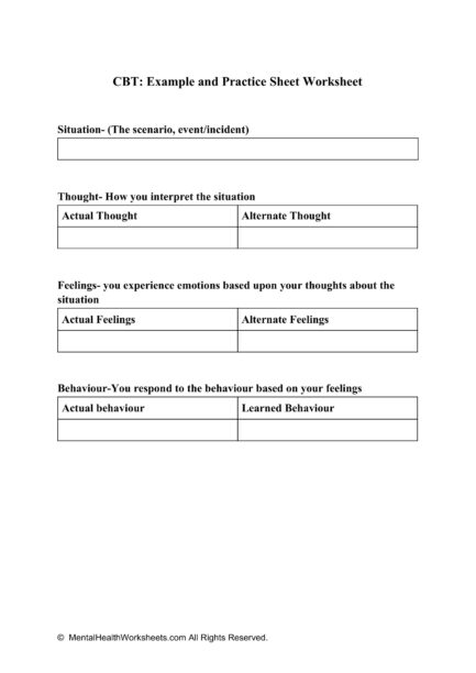 CBT_ Example And Practice Sheet Worksheet - Mental Health ...
