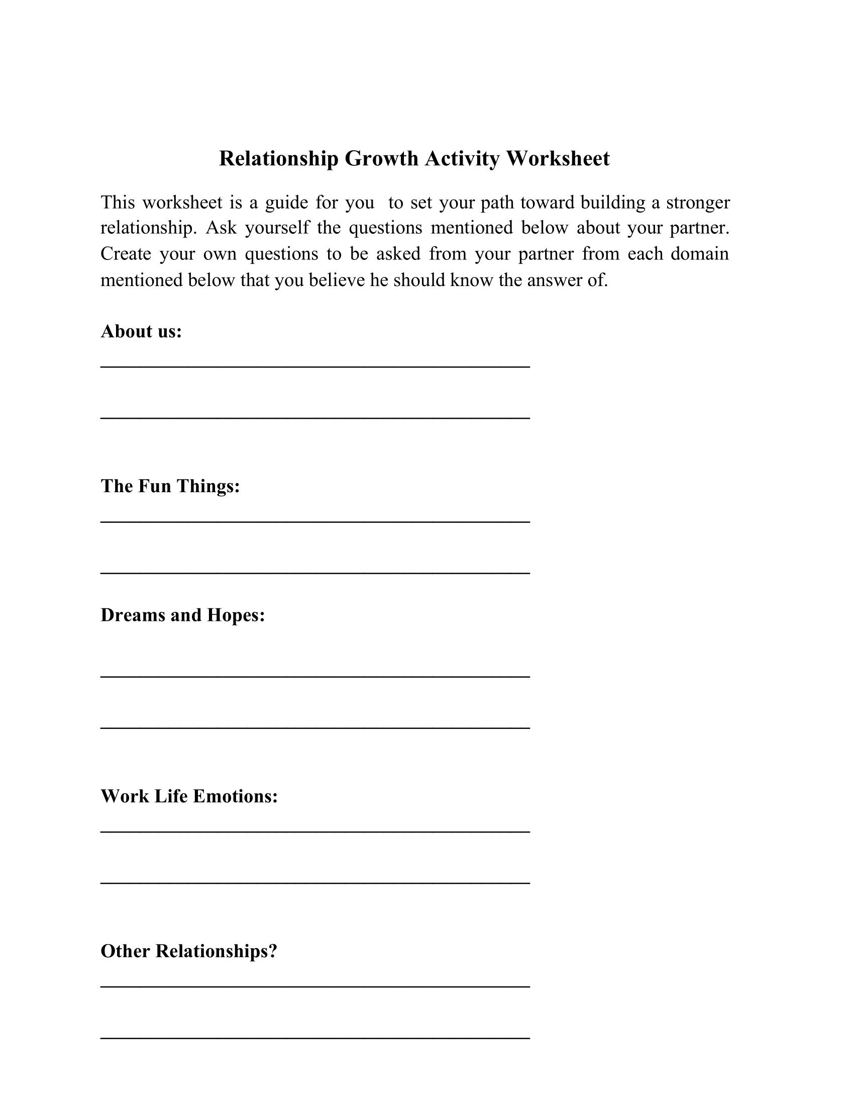 Relationship Growth Activity Worksheet