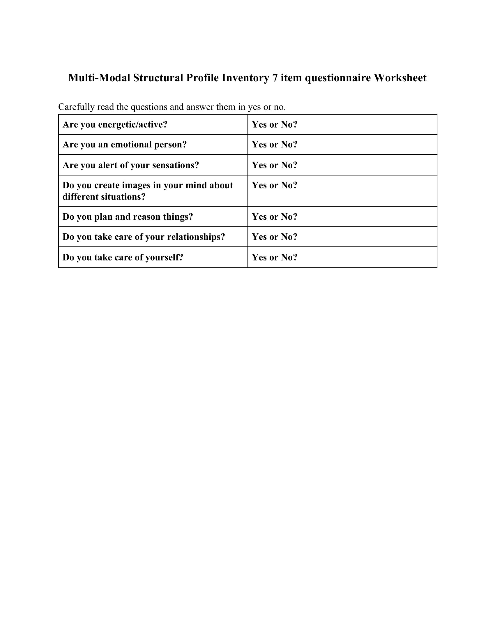 Multi-Modal Structural Profile Inventory 7 item questionnaire Worksheet