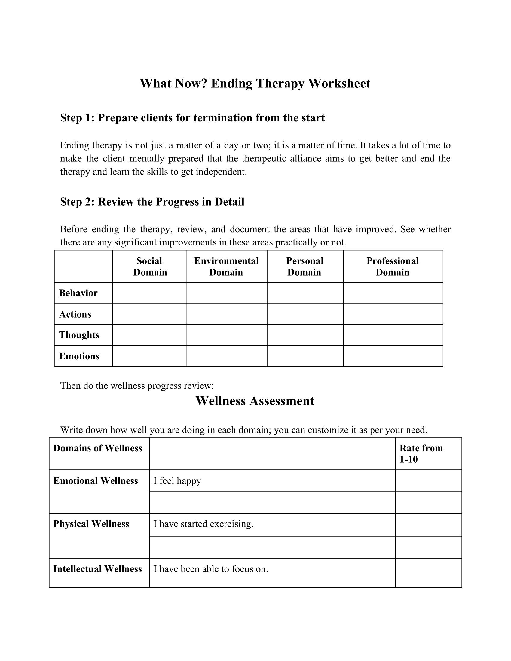 What Now? Ending Therapy Worksheet