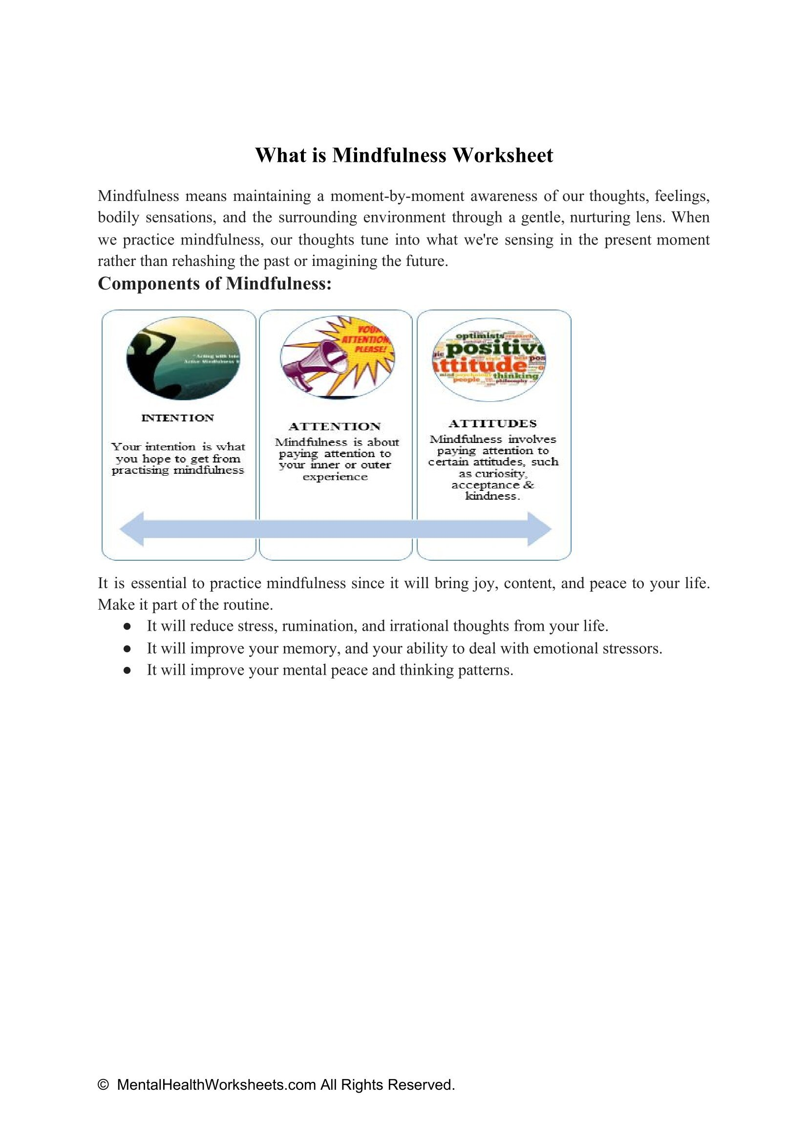 What is Mindfulness Worksheet