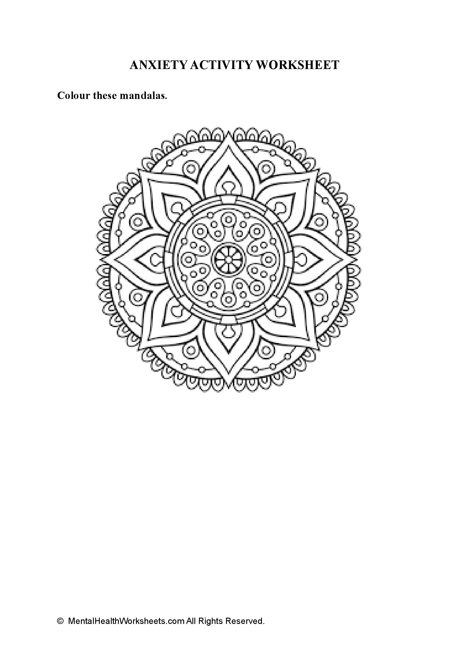 ANXIETY ACTIVITY WORKSHEET