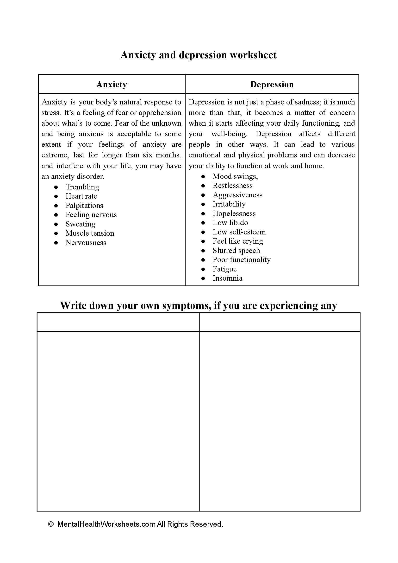 ANXIETY AND DEPRESSION WORKSHEET
