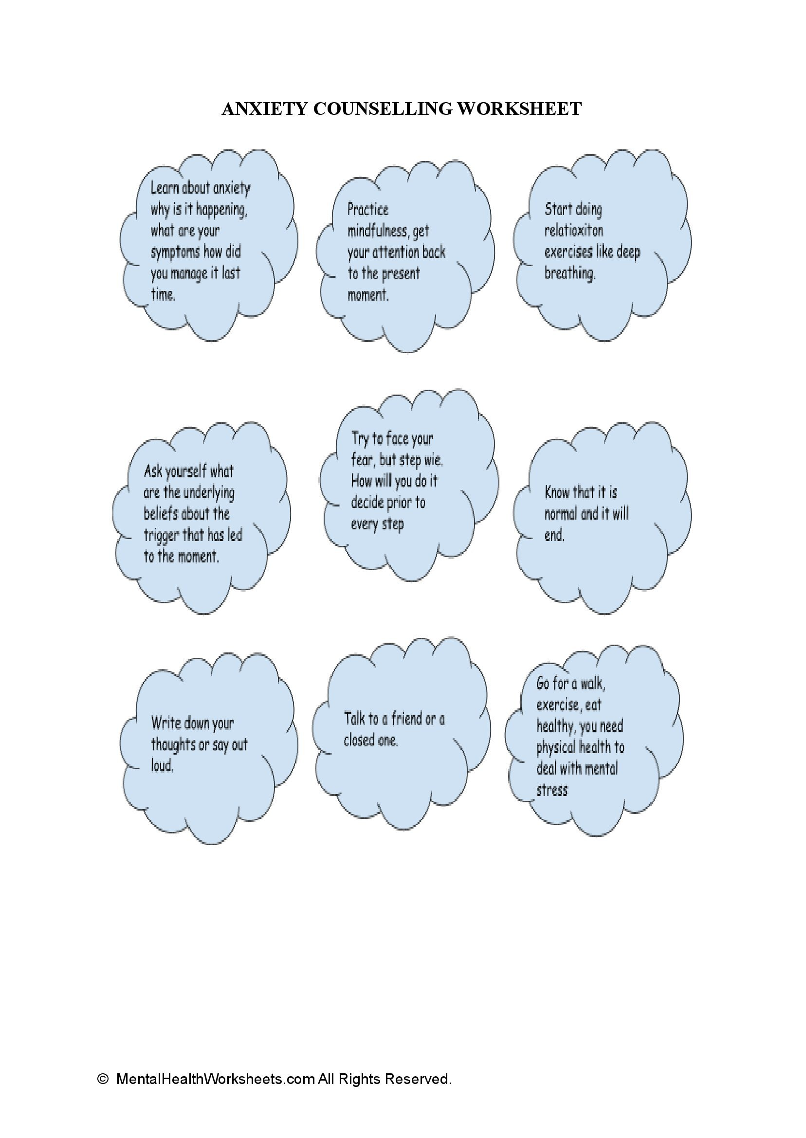 ANXIETY COUNSELLING WORKSHEET