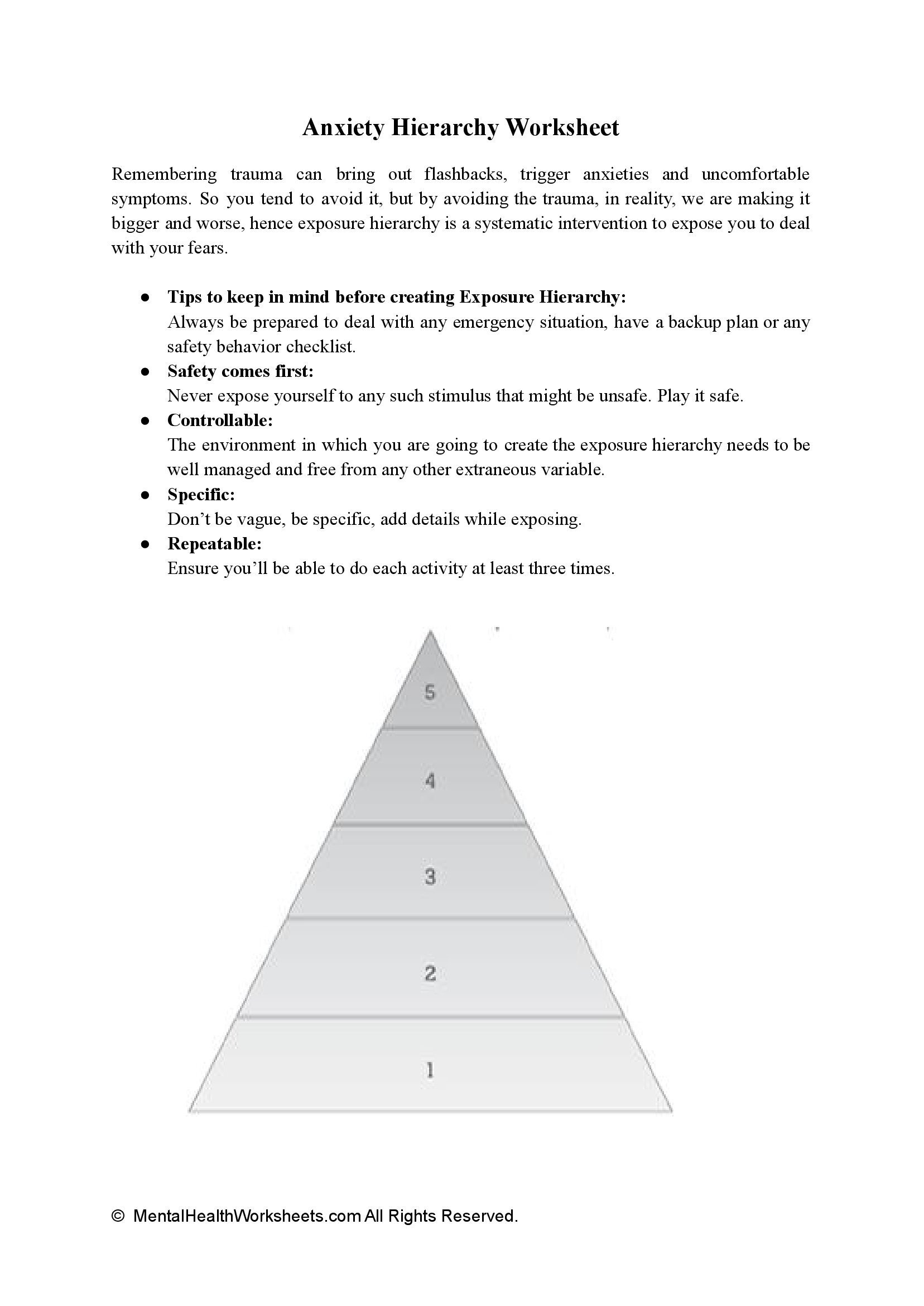 Anxiety Hierarchy Worksheet