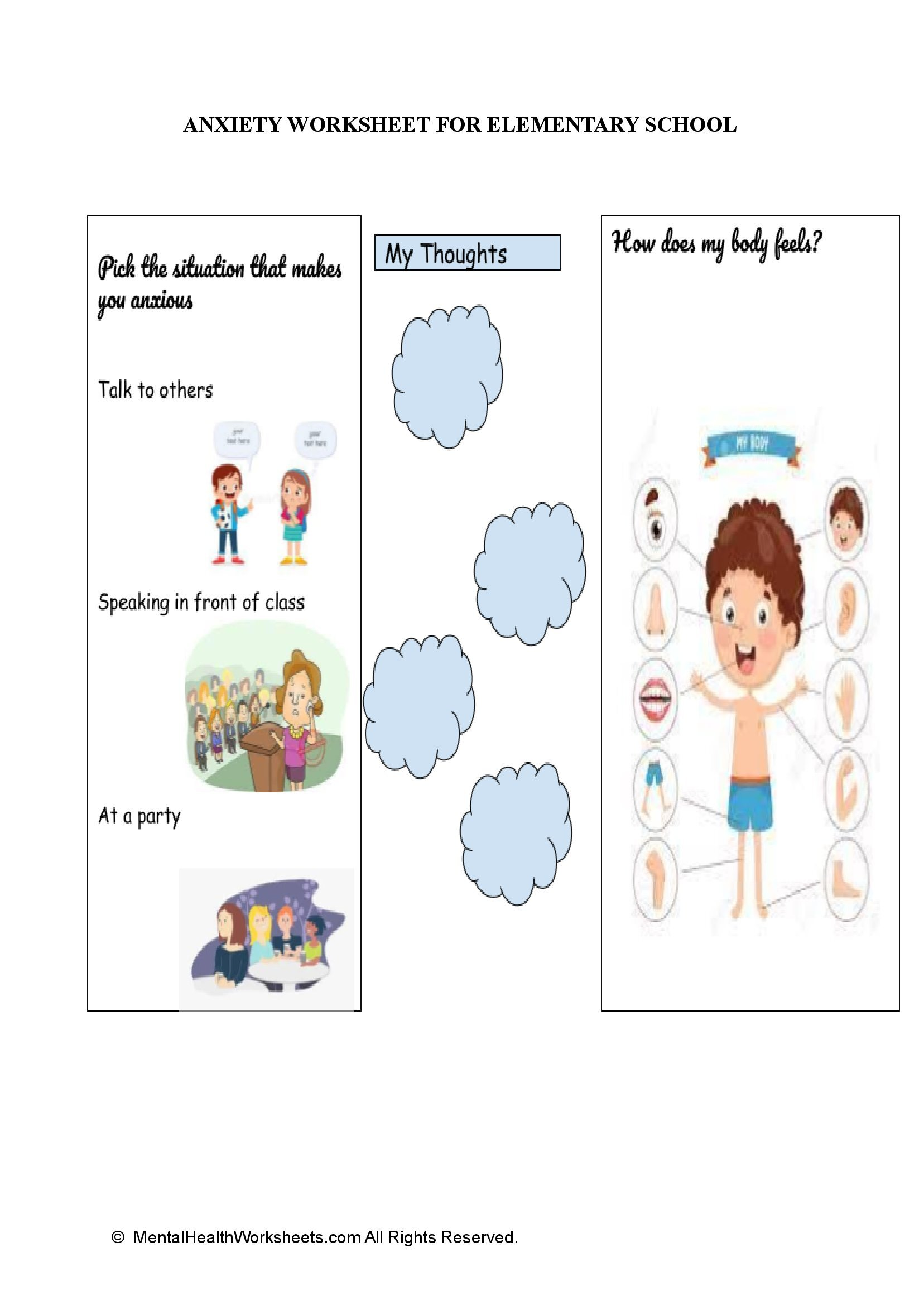ANXIETY WORKSHEET FOR ELEMENTARY SCHOOL