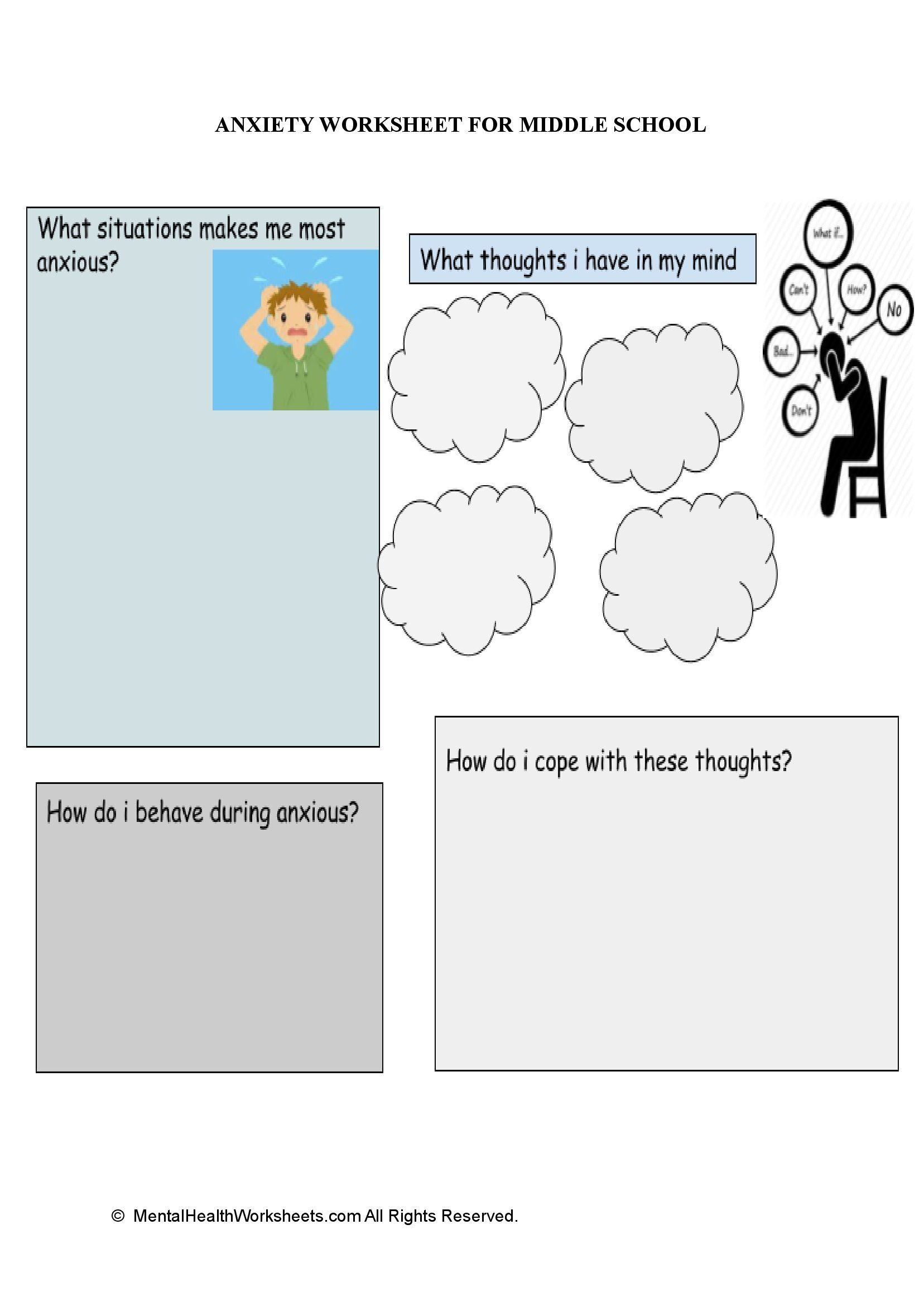 ANXIETY WORKSHEET FOR MIDDLE SCHOOL