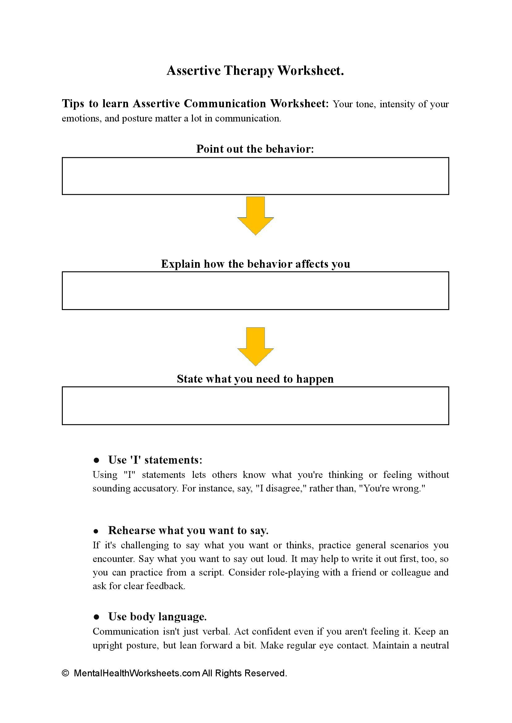 Assertive Therapy Worksheets