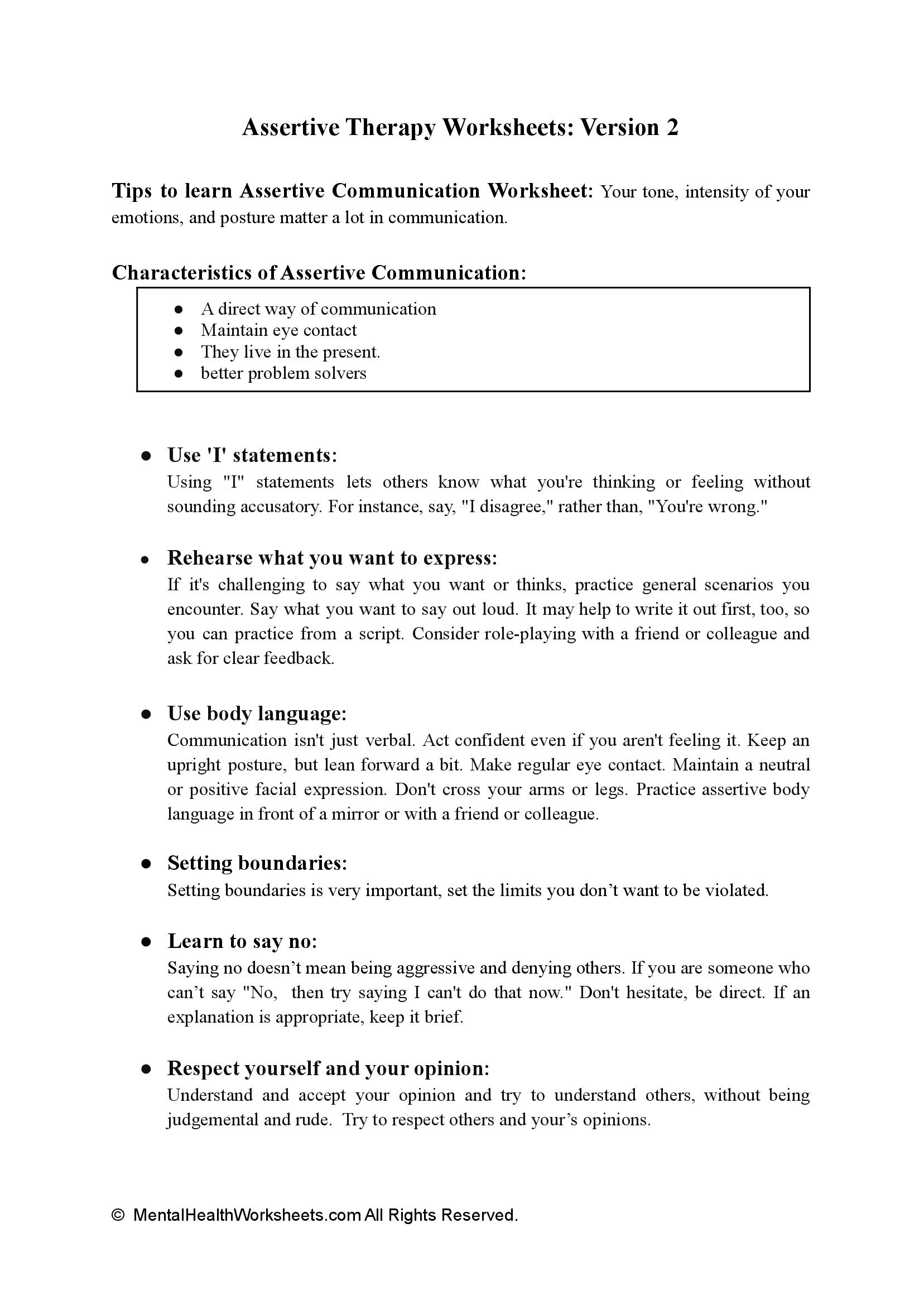Assertive Therapy Worksheets: Version 2