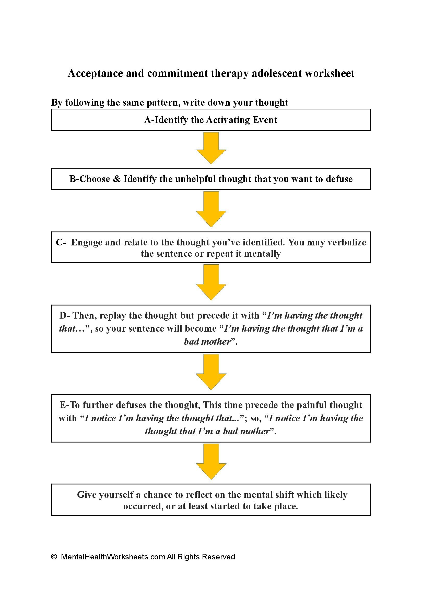 Acceptance and commitment therapy adolescent worksheet