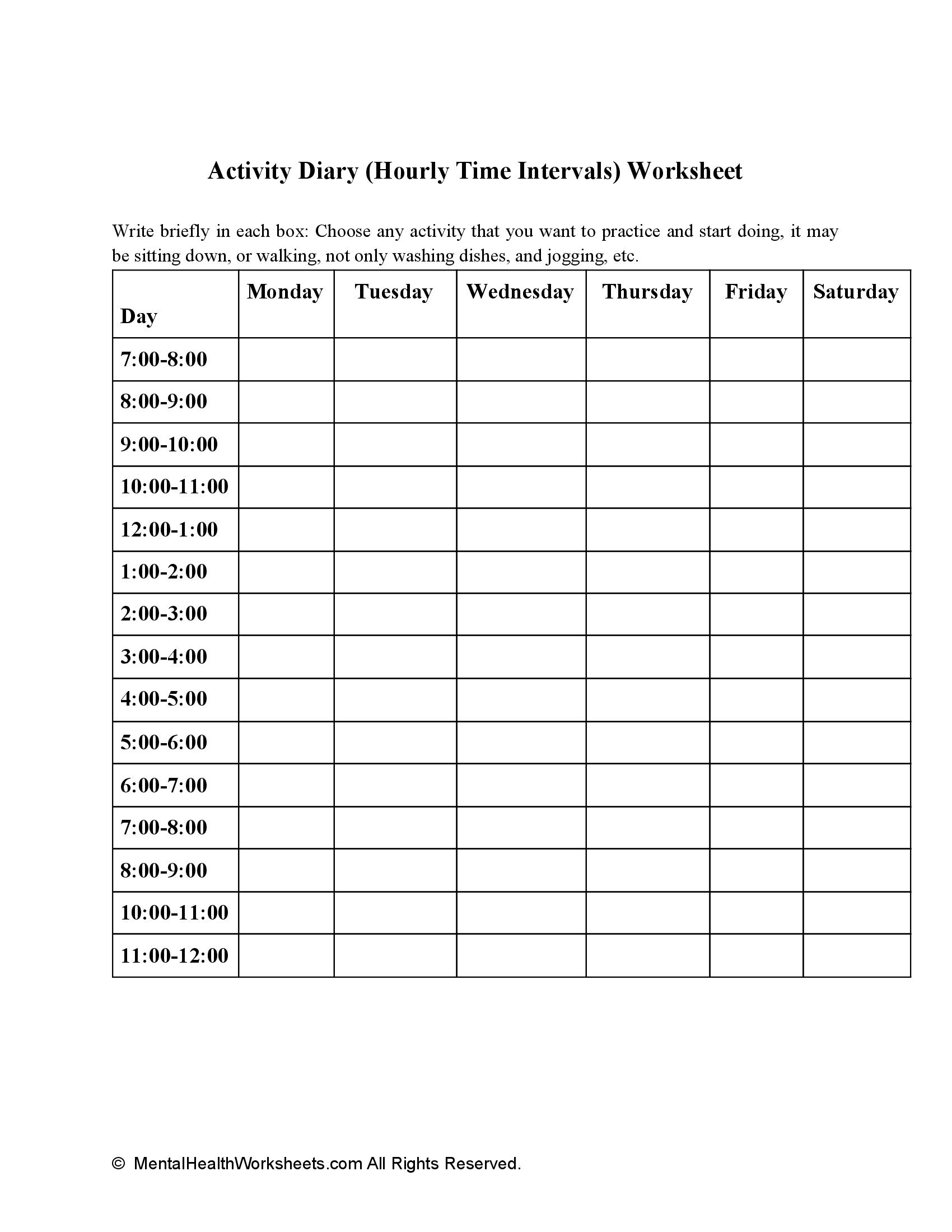 Activity Diary (Hourly Time Intervals) Worksheet