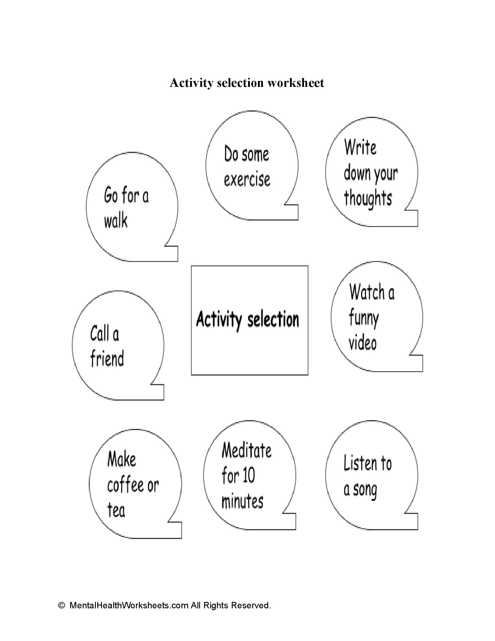 Activity Selection worksheet