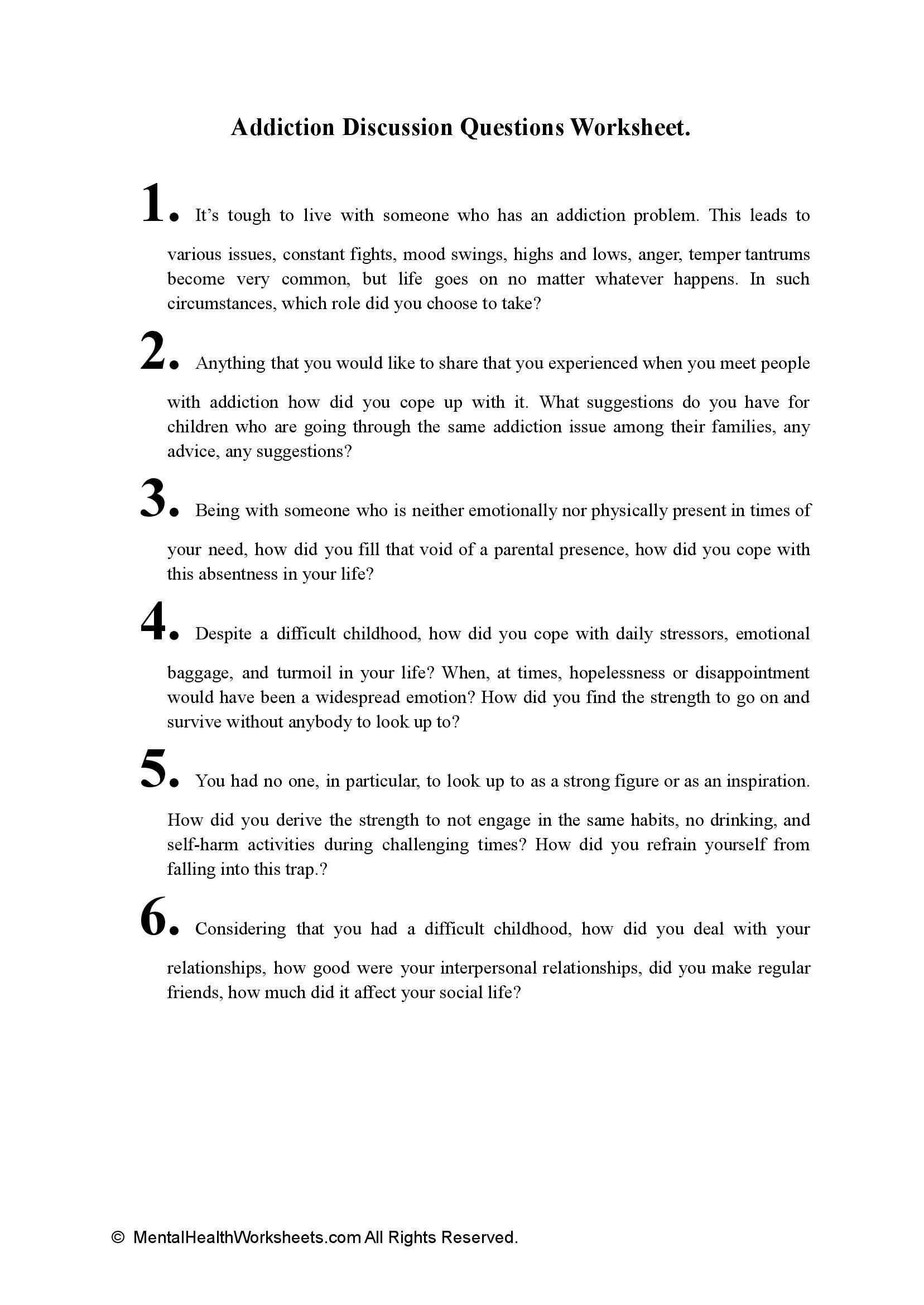 Addiction Discussion Questions Worksheet