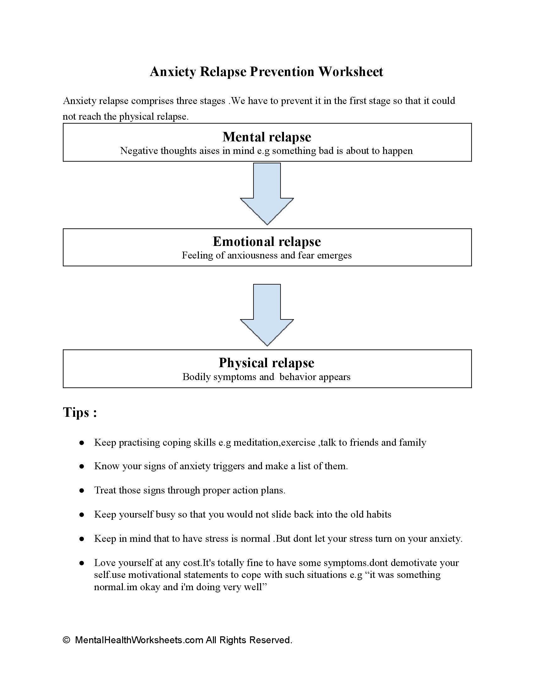 Anxiety Relapse Prevention Worksheet