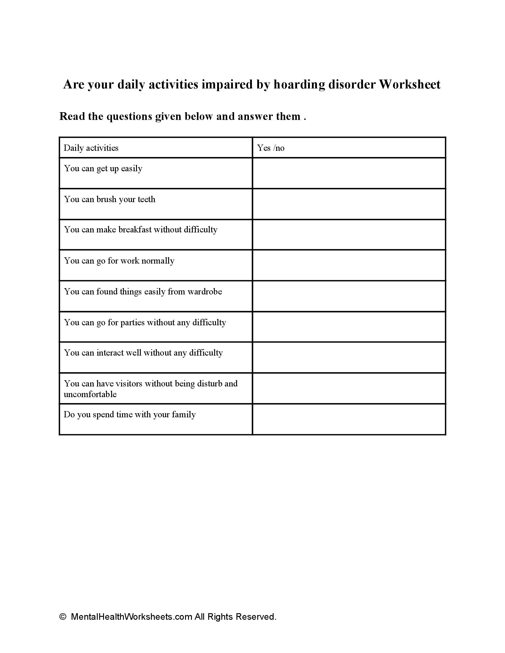 Are your daily activities impaired by hoarding disorder Worksheet