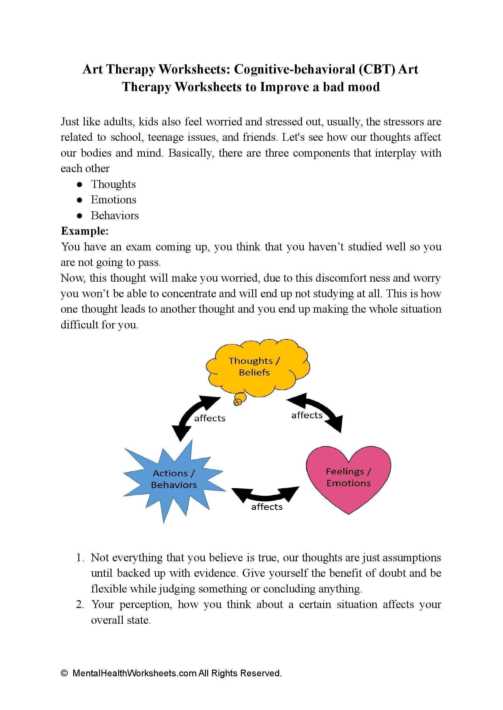 Art Therapy Worksheets: Cognitive-behavioral (CBT) Art Therapy Worksheets to Improve a bad mood