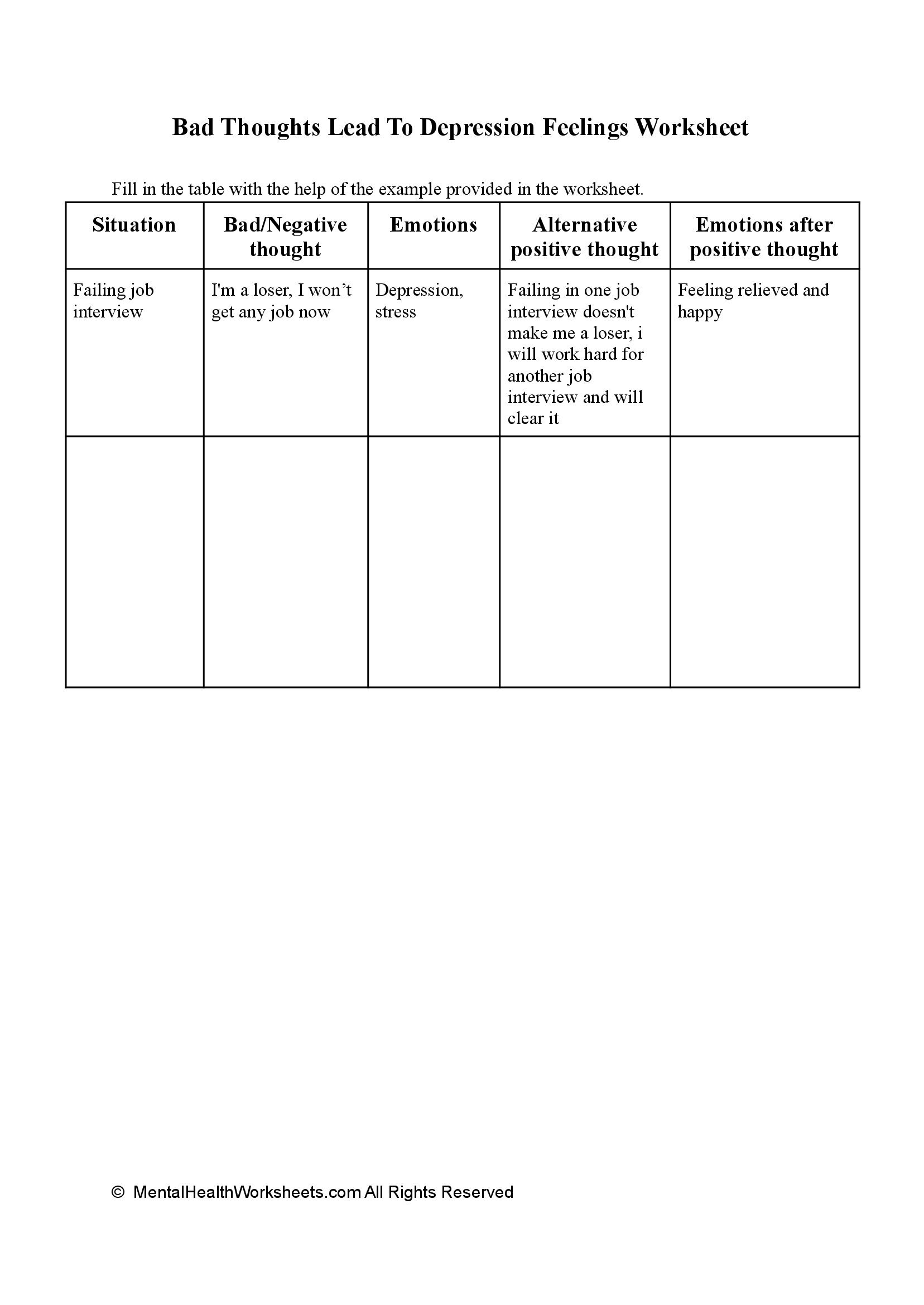 Bad Thoughts Lead To Depression Feelings Worksheet