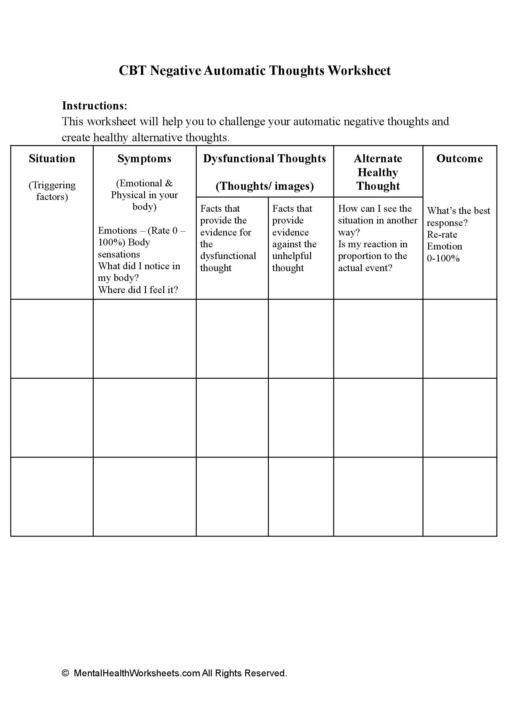 CBT Negative Automatic Thoughts Worksheet
