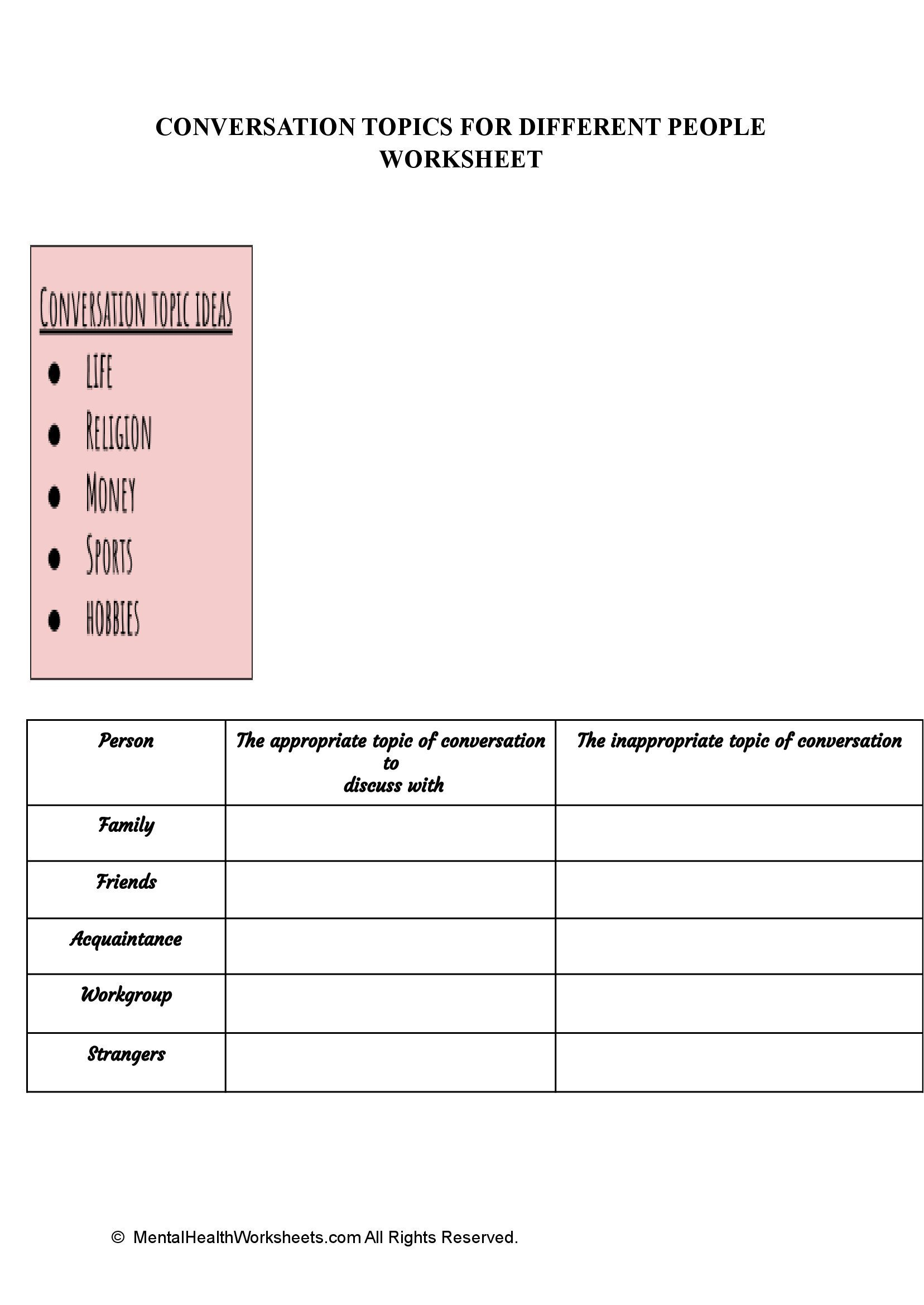CONVERSATION TOPICS FOR DIFFERENT PEOPLE WORKSHEET