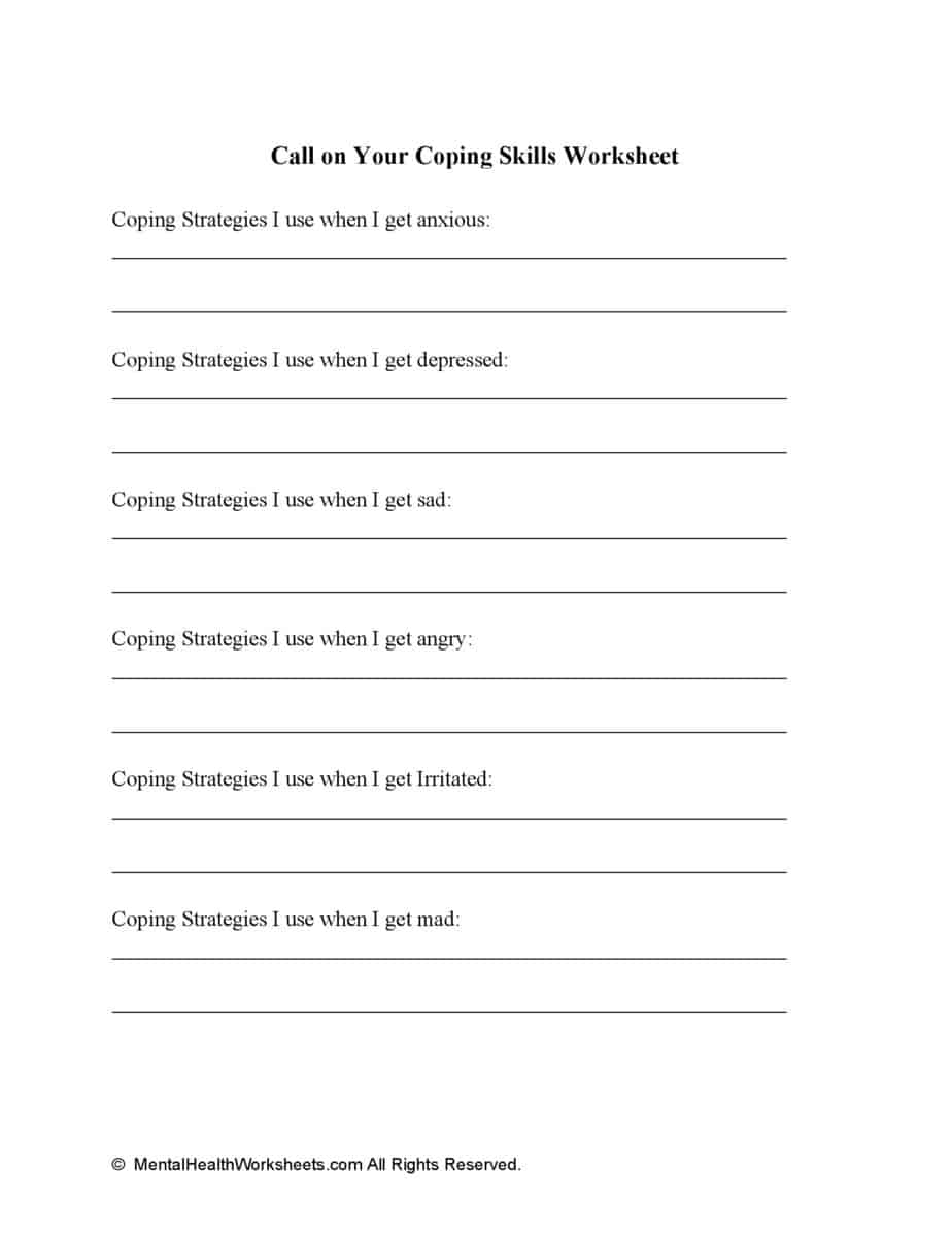 Call on Your Coping Skills Worksheet