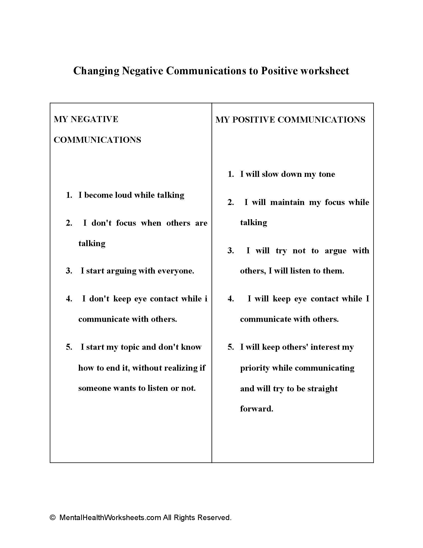 Changing Negative Communications to Positive worksheet