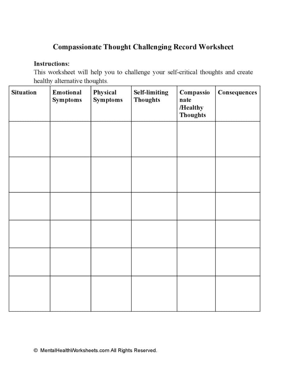 Compassionate Thought Challenging Record Worksheet
