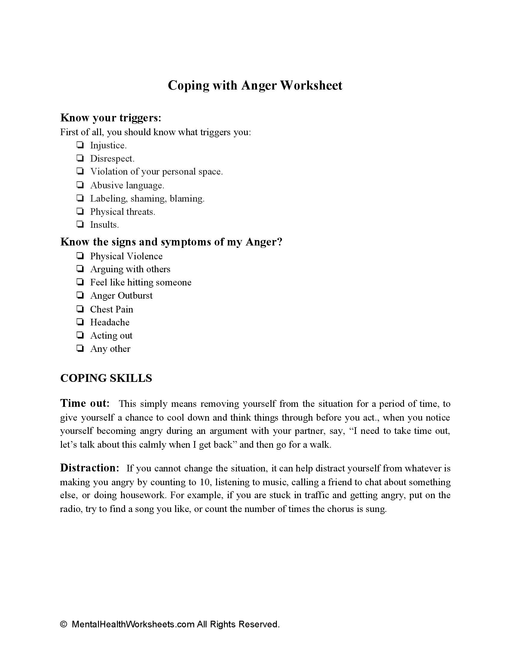 Coping with Anger Worksheet