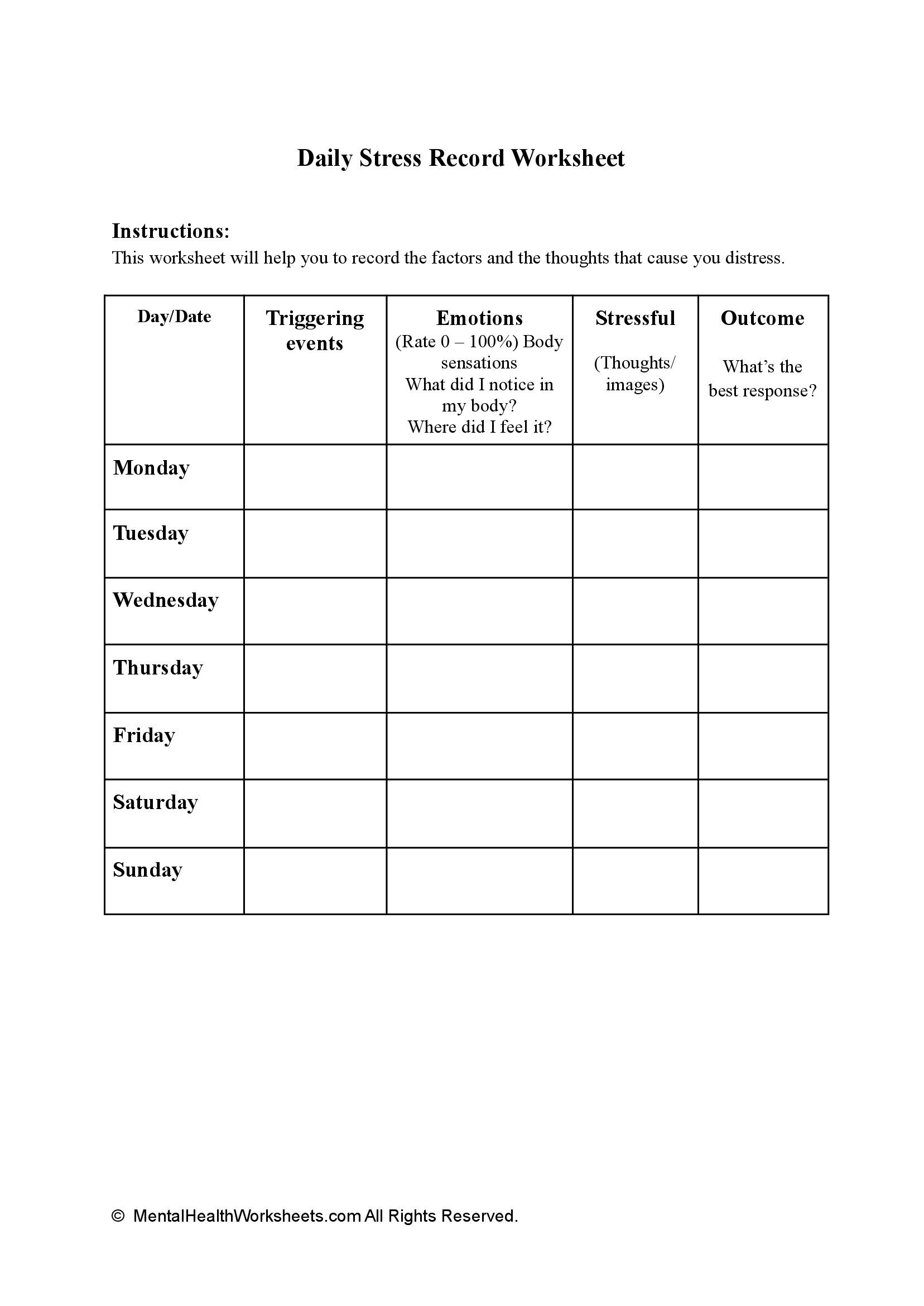 Daily Stress Record Worksheet