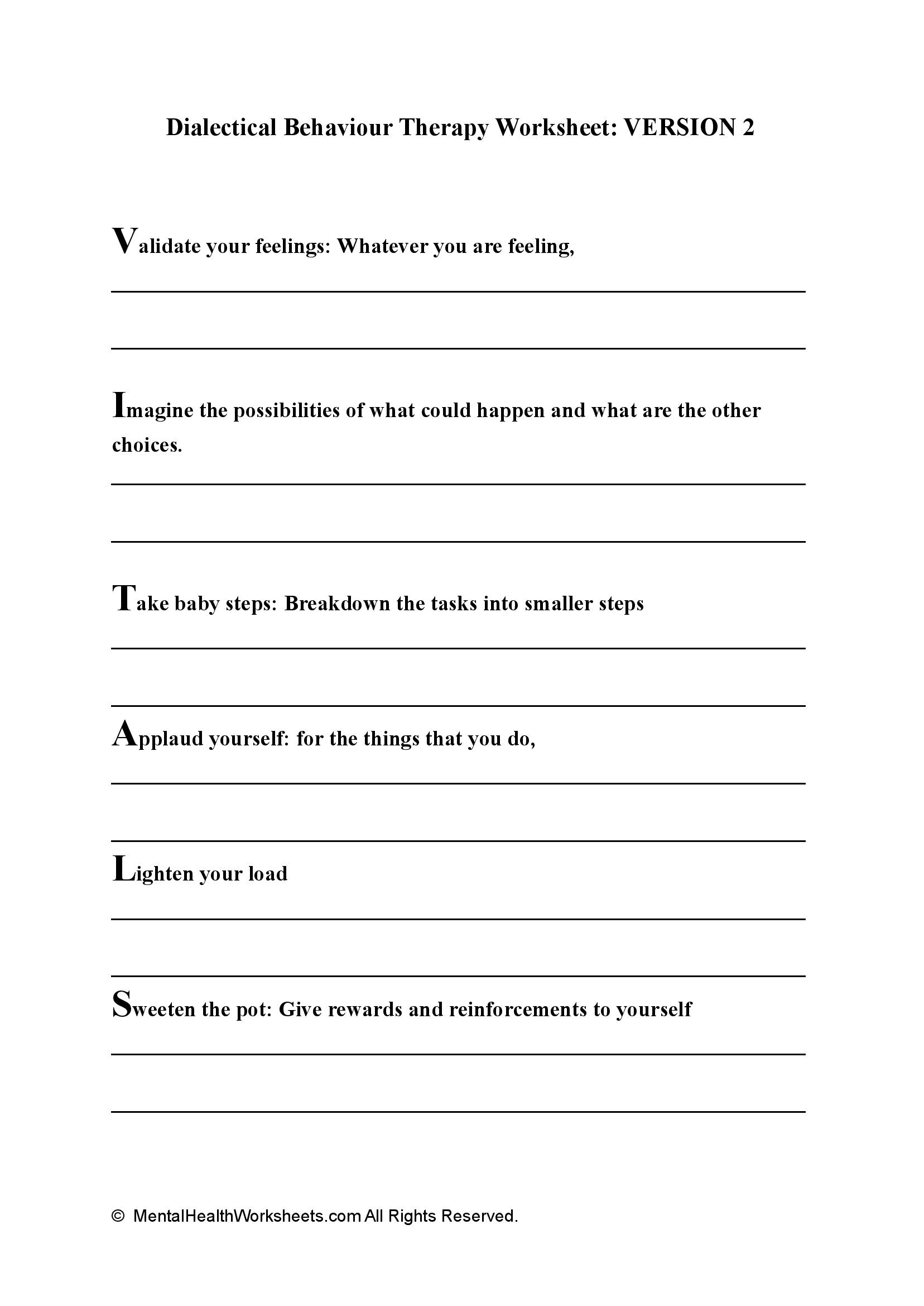 Dialectical Behaviour Therapy Worksheet: VERSION 2