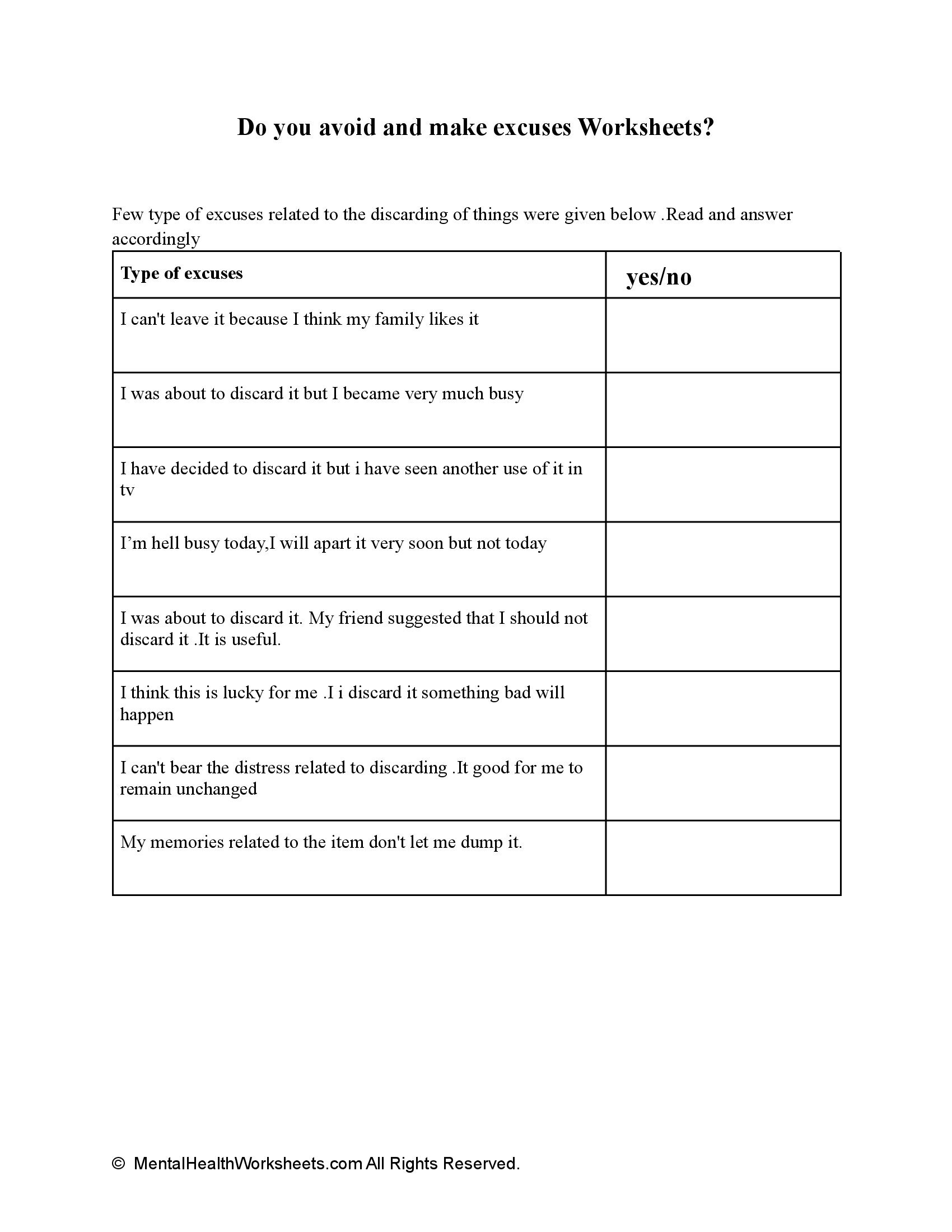 Do you avoid and make excuses Worksheets?