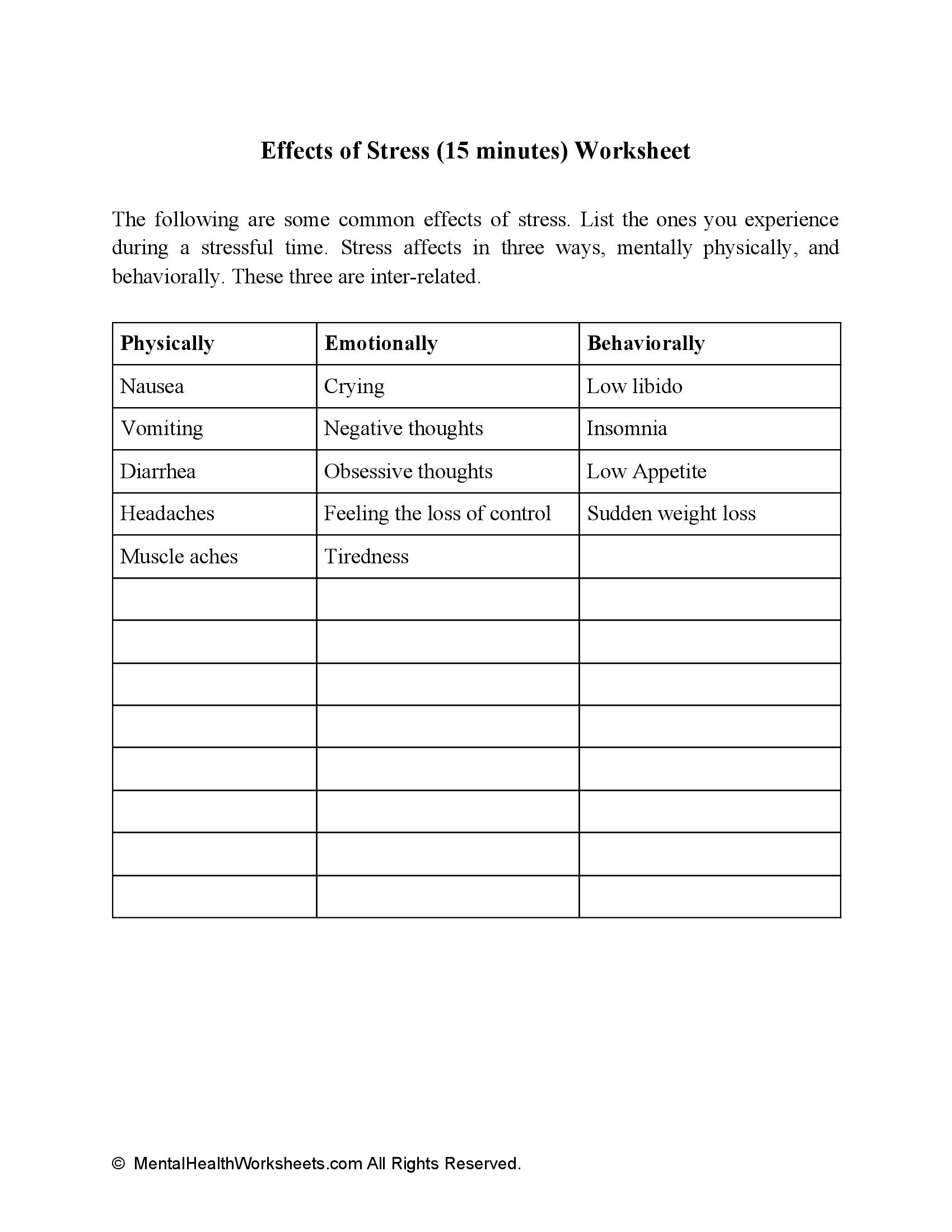 Effects of Stress (15 minutes) Worksheet