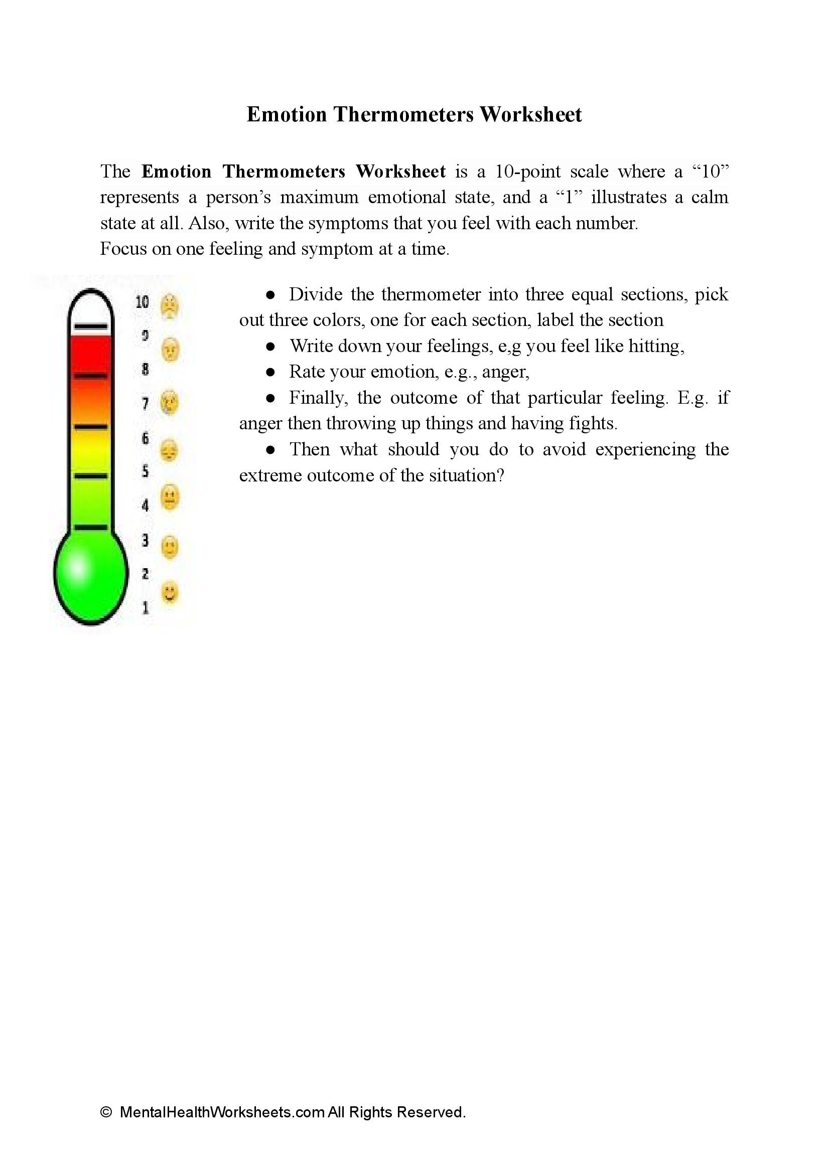 Emotion Thermometers Worksheet