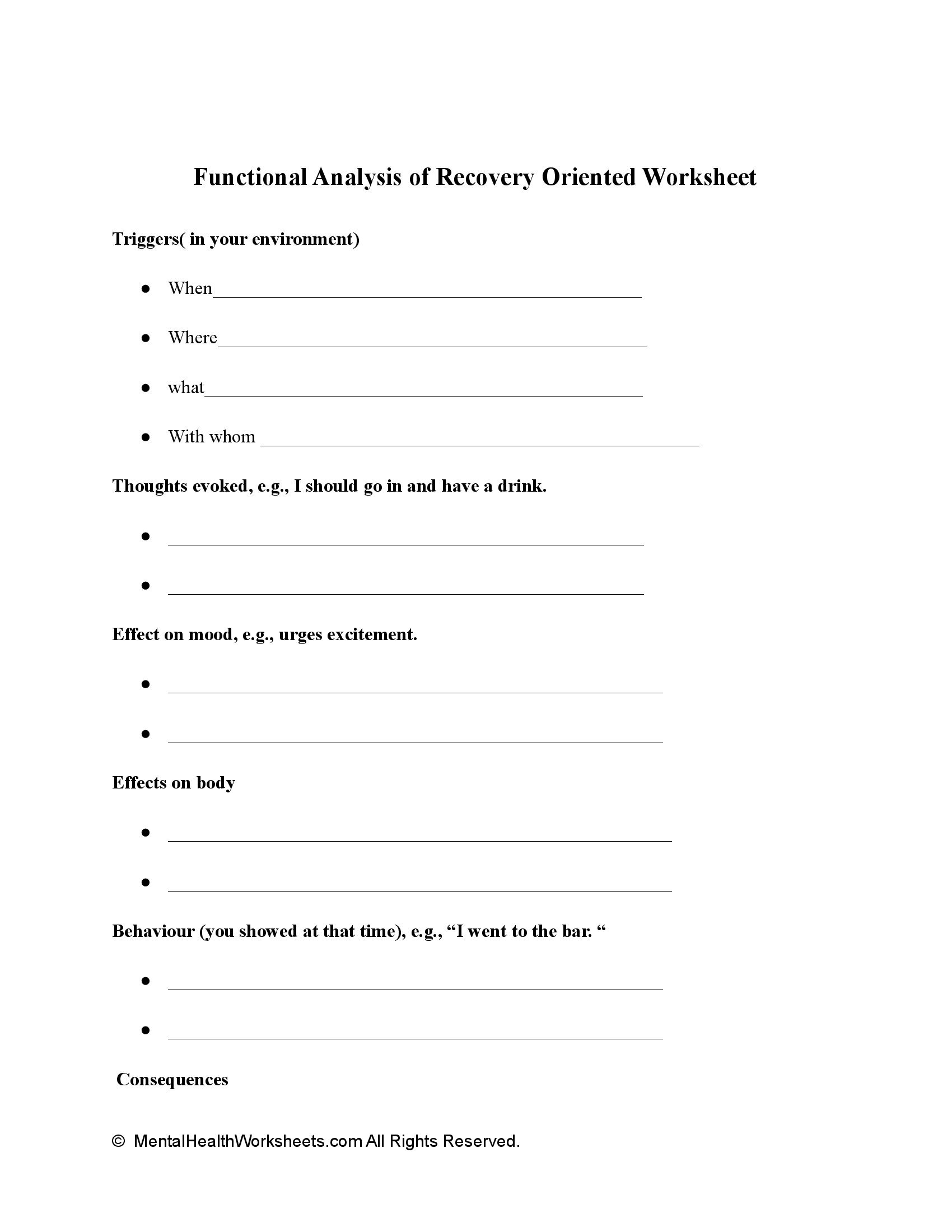 Functional Analysis of Recovery Oriented Worksheet
