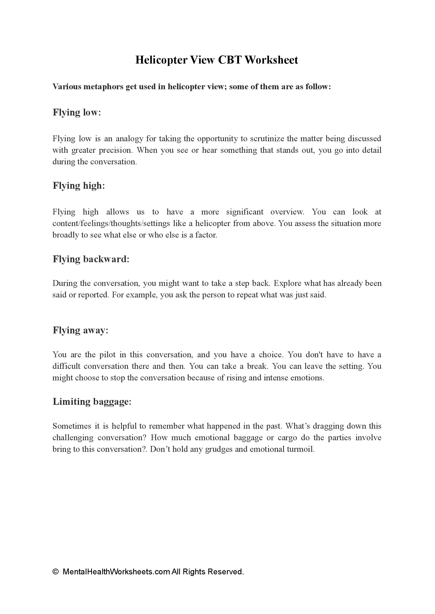 Helicopter View CBT Worksheet
