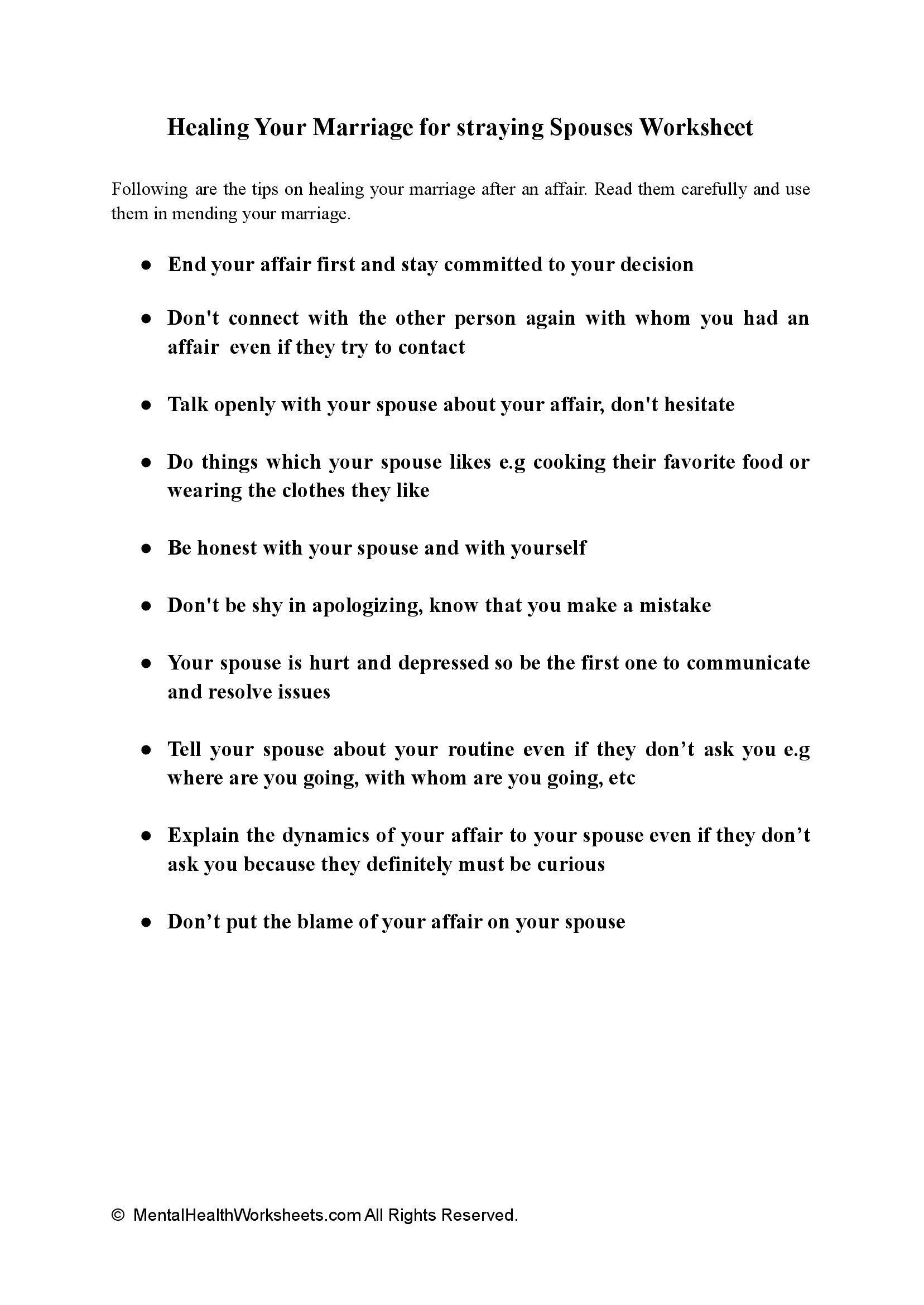 Healing Your Marriage for straying Spouses Worksheet