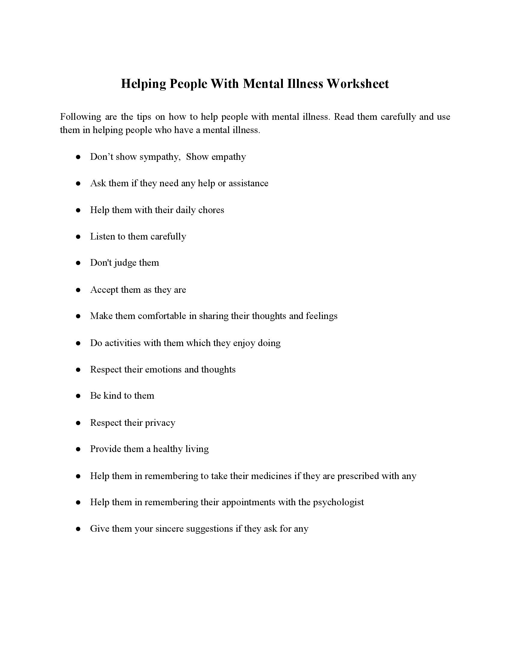 Helping People With Mental Illness Worksheet