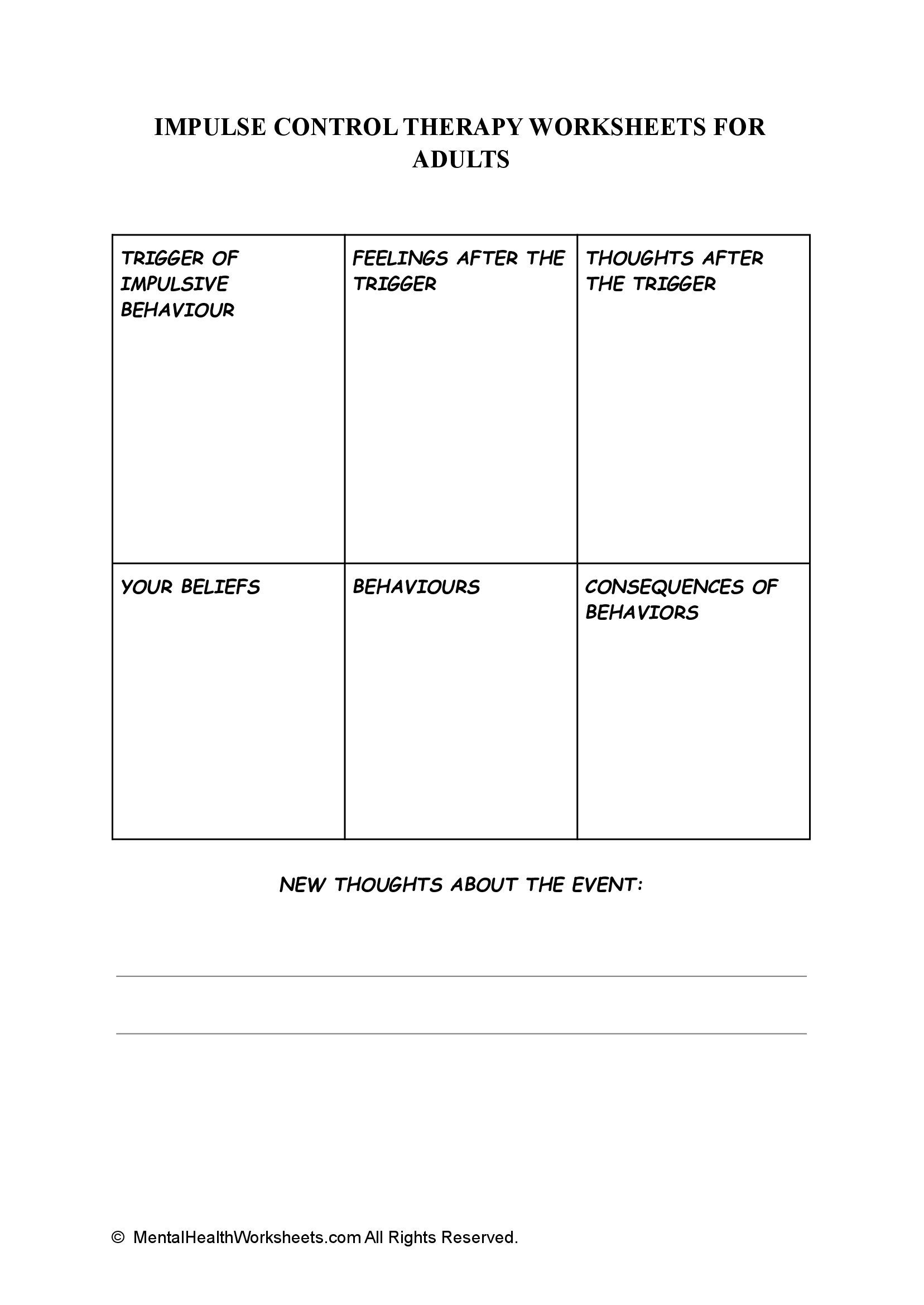IMPULSE CONTROL THERAPY WORKSHEETS FOR ADULTS