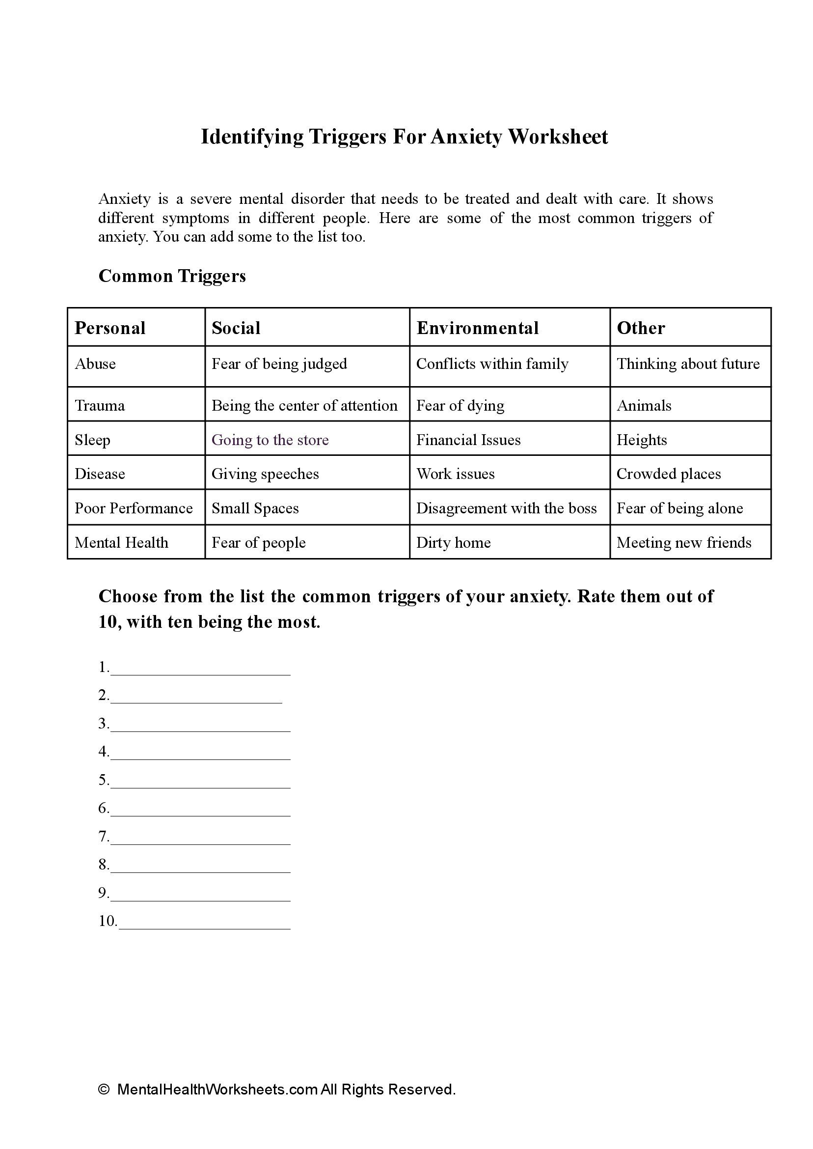 Identifying Triggers For Anxiety Worksheet