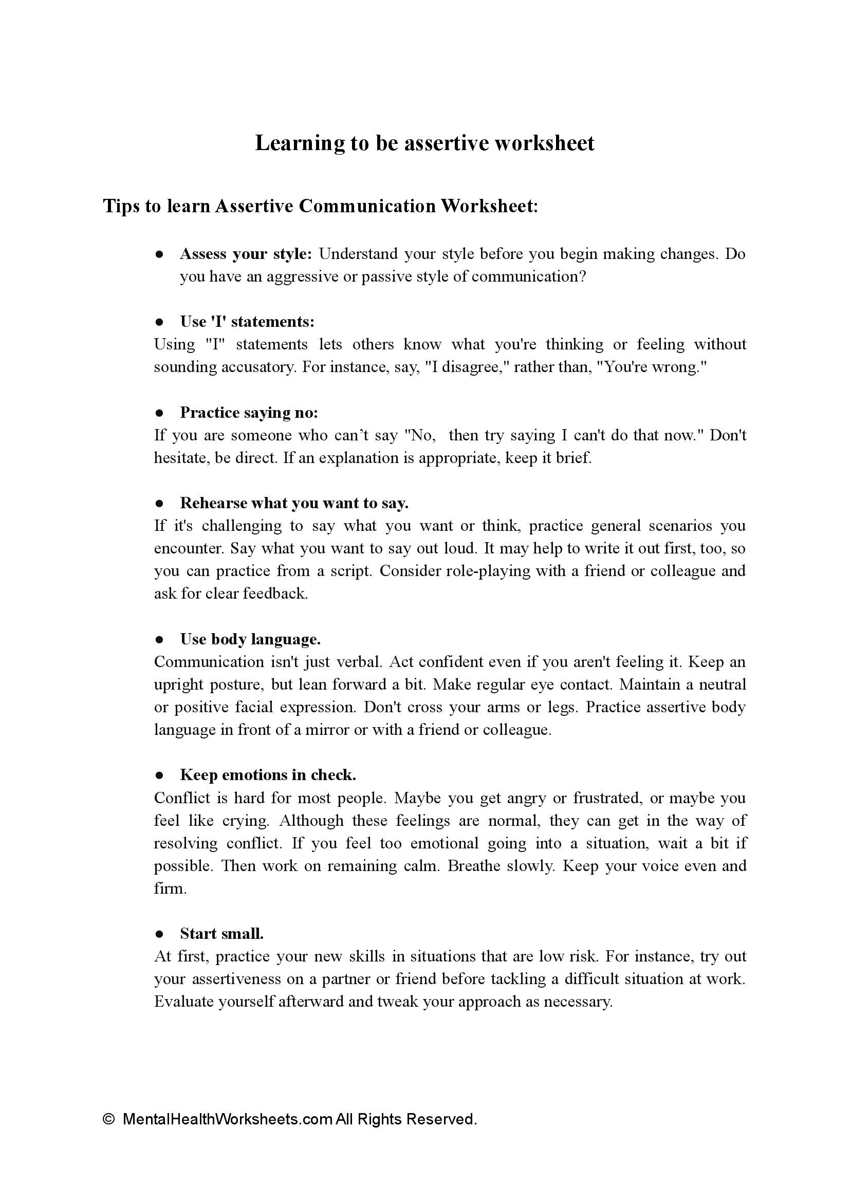 Learning to be assertive worksheet