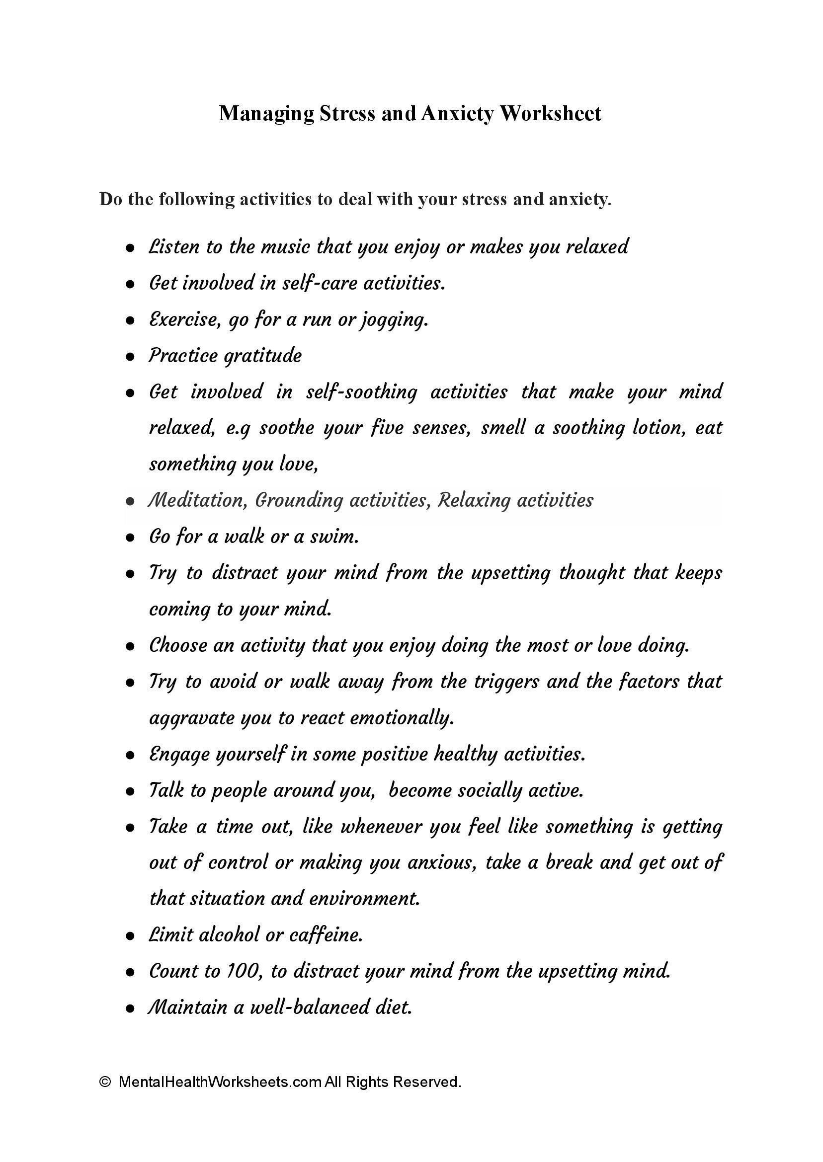 Managing Stress and Anxiety Worksheet