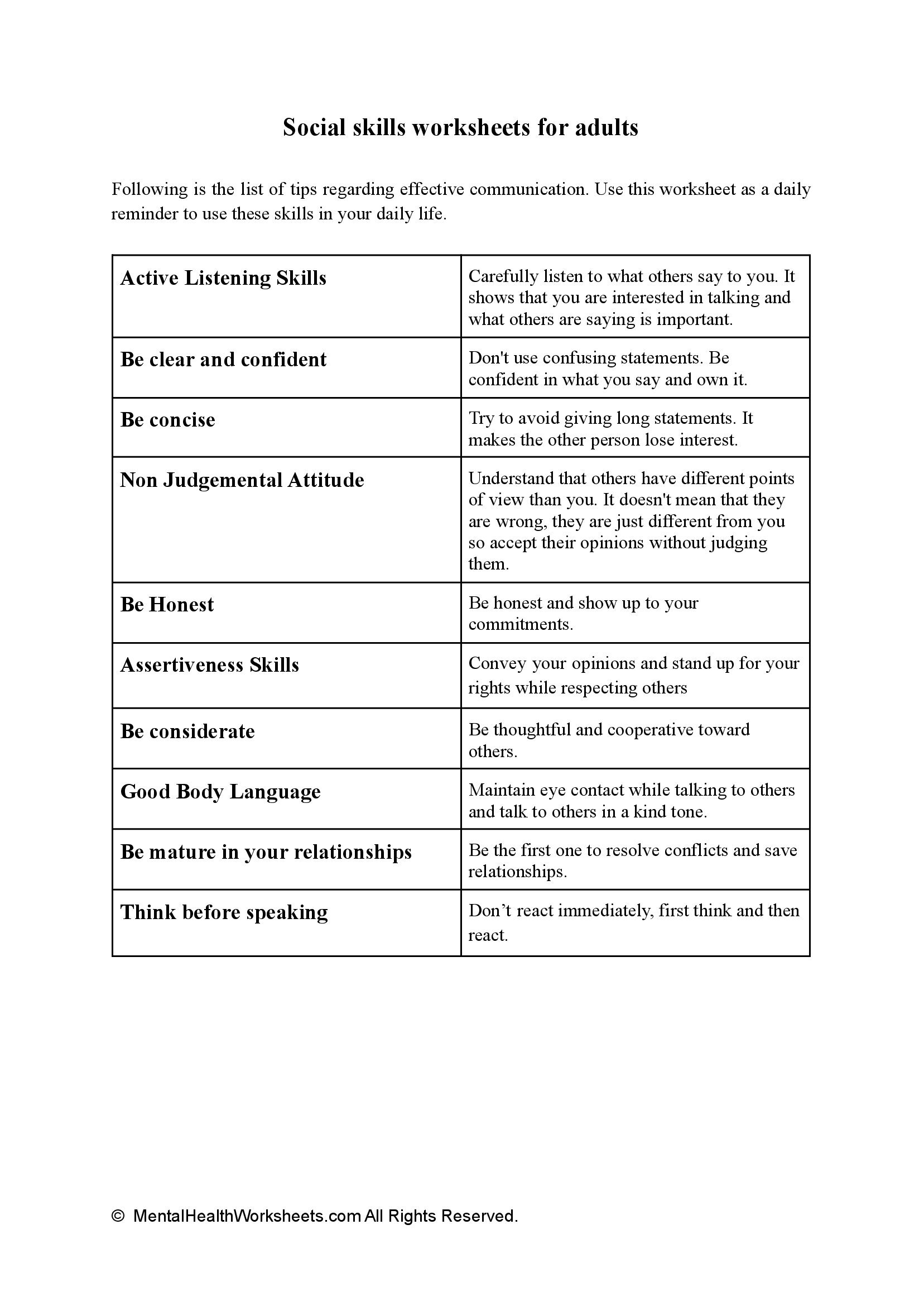 MENTAL HEALTH WORKSHEETS FOR ADULTS