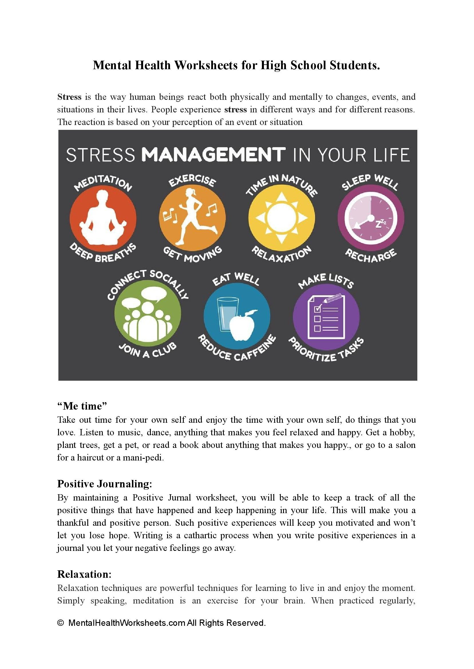 Mental Health Worksheets for High School Students