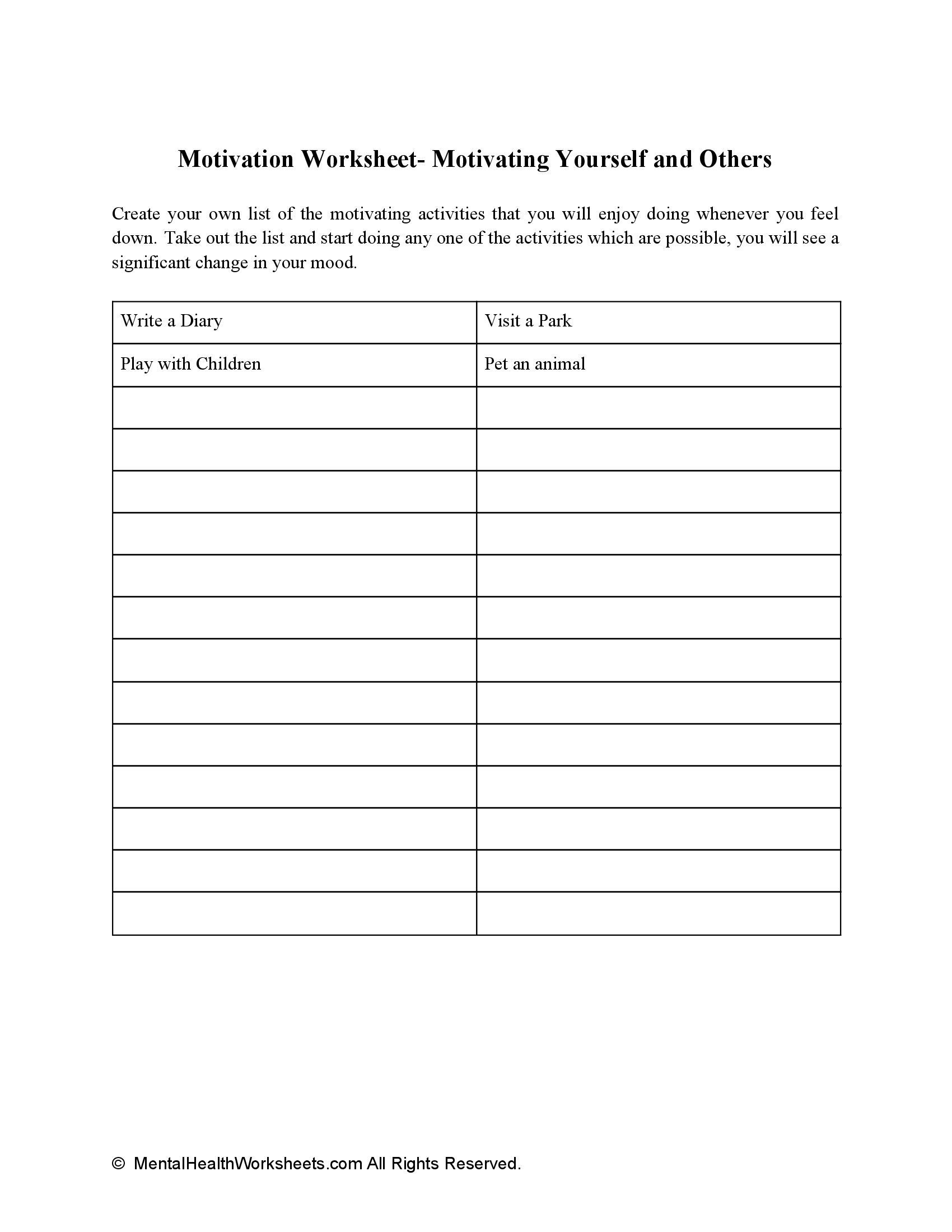 Motivation Worksheet- Motivating Yourself and Others