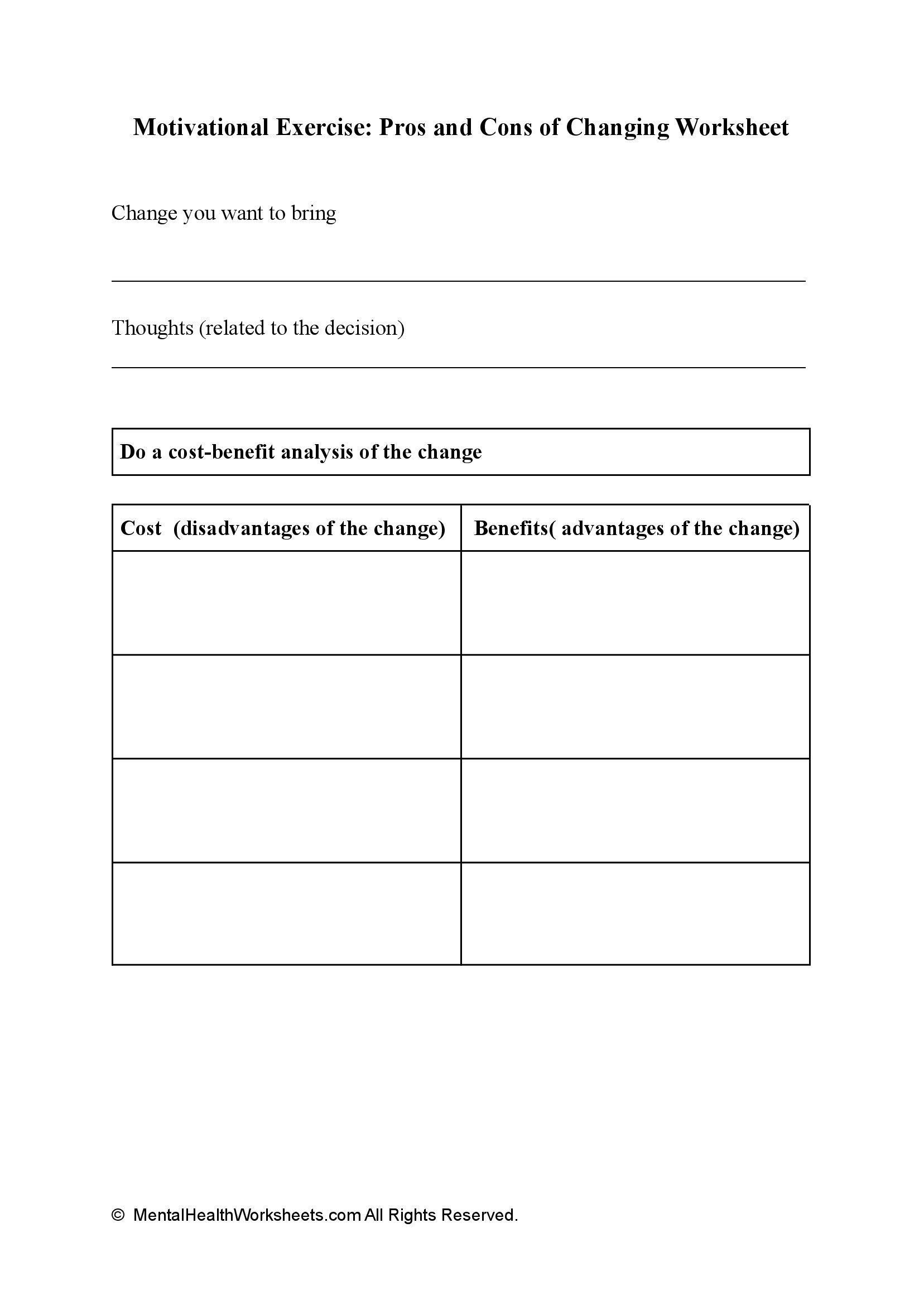 Motivational Exercise: Pros and Cons of Changing Worksheet