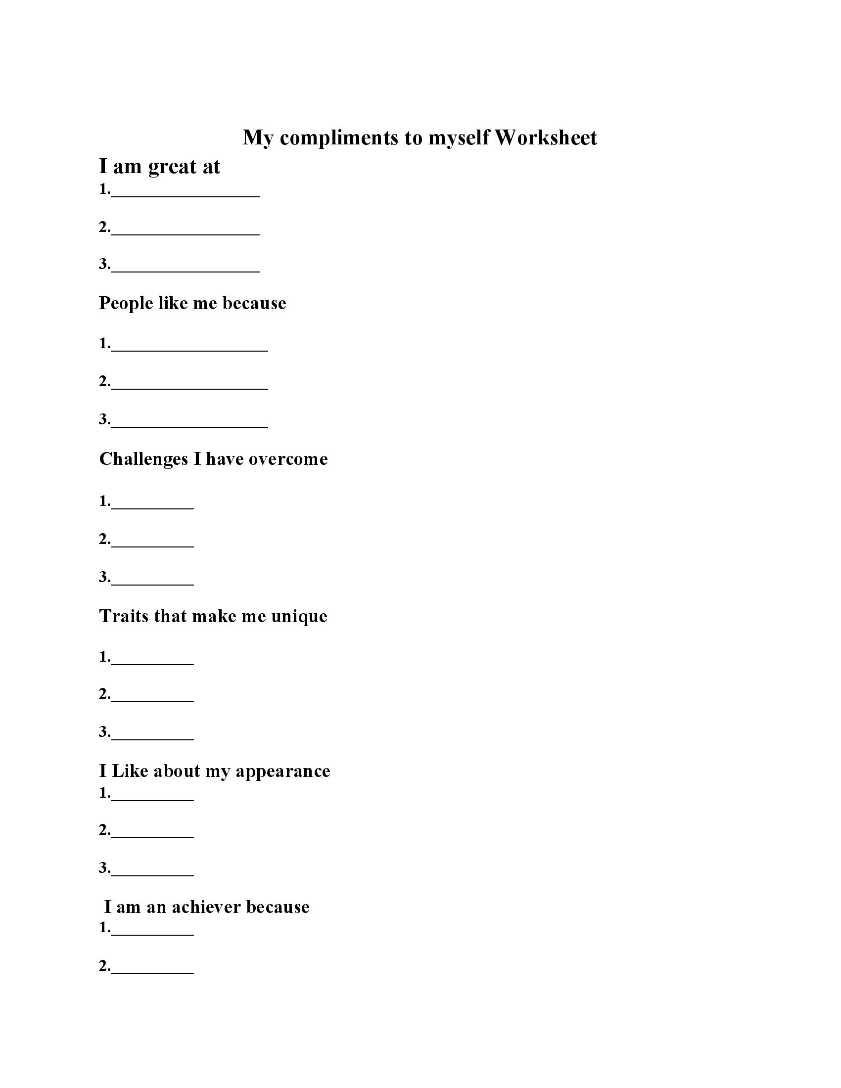 My compliments to myself Worksheet