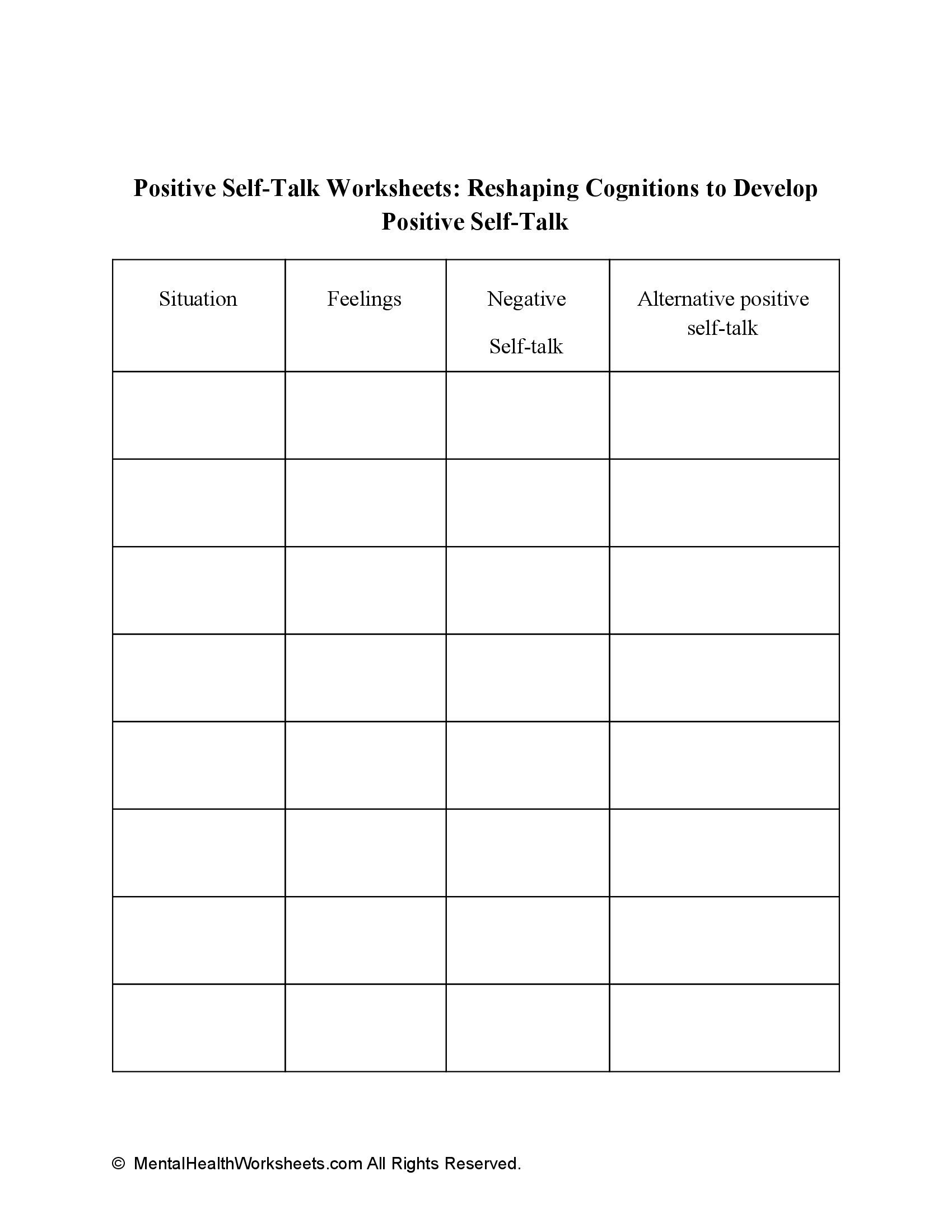 Positive Self-Talk Worksheets: Reshaping Cognitions to Develop Positive Self-Talk