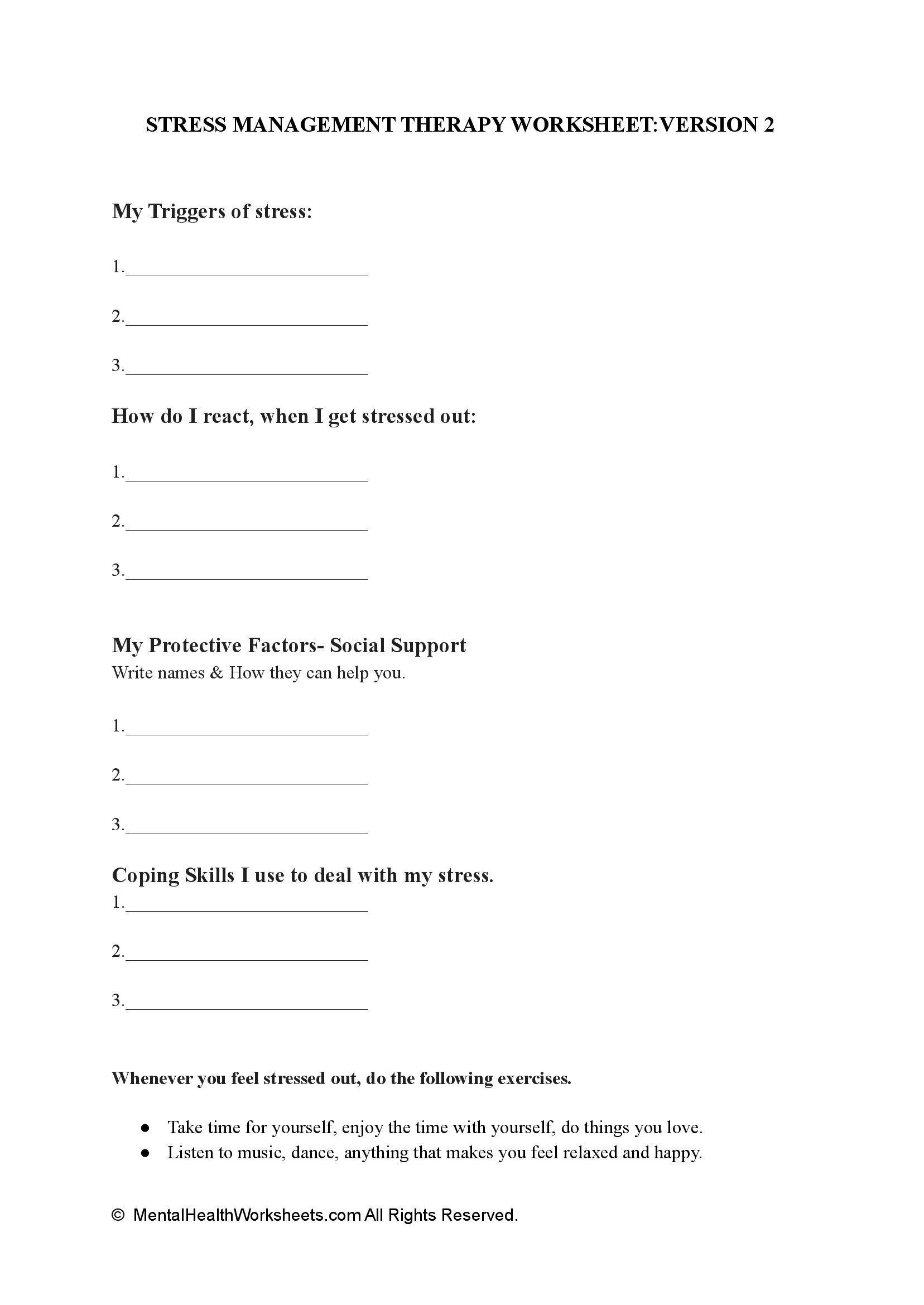 STRESS MANAGEMENT THERAPY WORKSHEET:VERSION 2