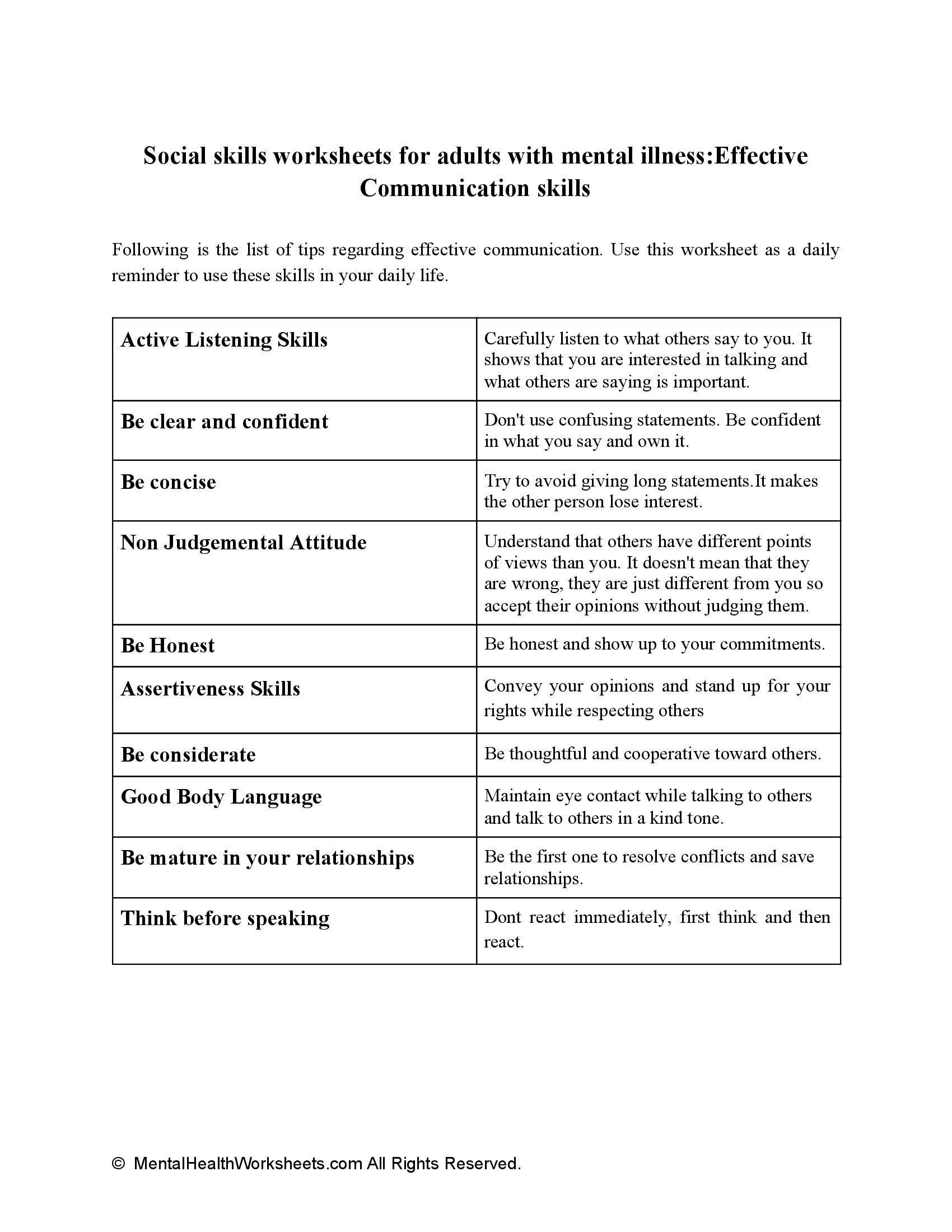 Social skills worksheets for adults with mental illness:Effective Communication skills